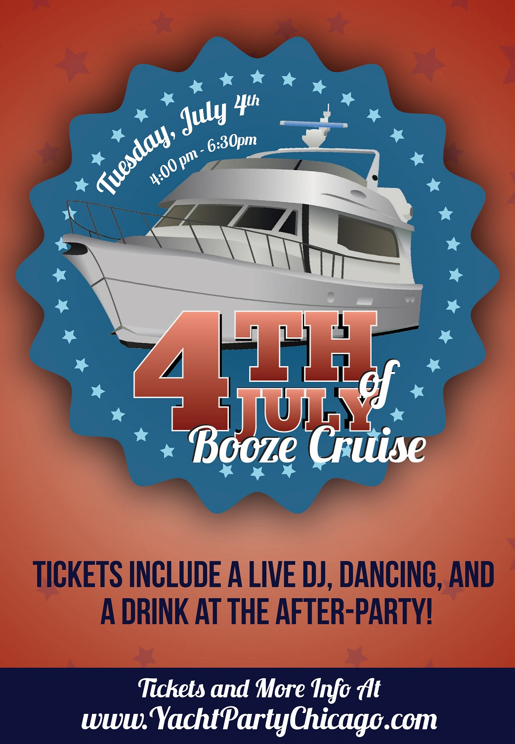 Independence Day - 4th of July Booze Cruise on Lake Michigan! Tickets include a Live DJ, Dancing, and A Drink At The After-Party! Catch breathtaking views of the skyline while aboard the booze cruise!