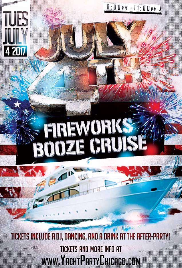 Independence Day - July 4th Fireworks Booze Cruise on Lake Michigan! Tickets include a Live DJ, Dancing, and A Drink At The After-Party! Catch breathtaking views of the skyline while aboard the booze cruise!