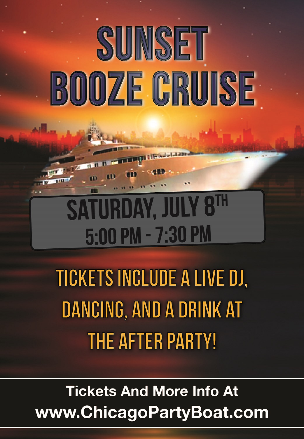 Sunset Booze Cruise on Lake Michigan! Tickets include a Live DJ, Dancing, and A Drink At The After-Party! Catch breathtaking views of the skyline while aboard the booze cruise!