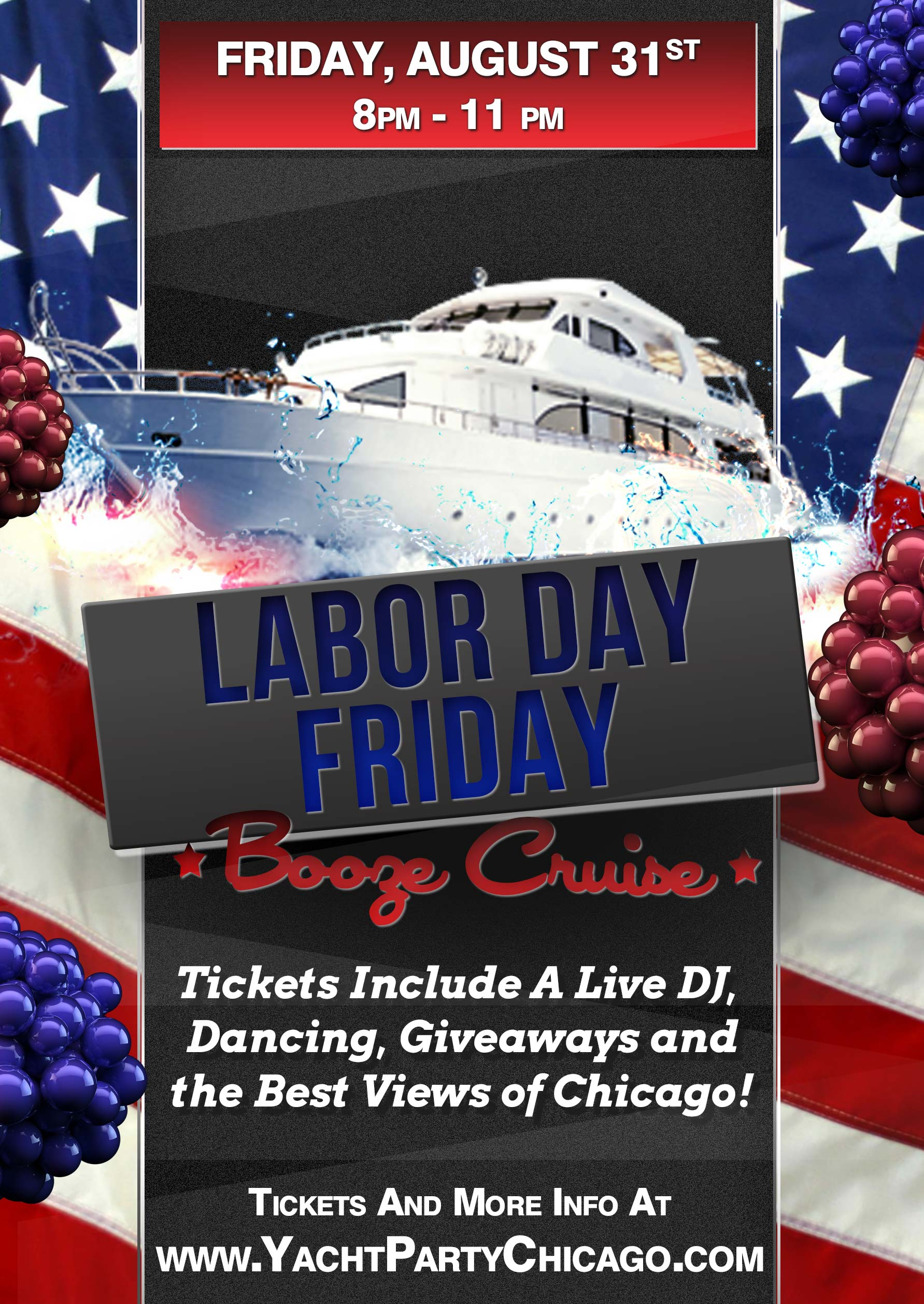 Labor Day Friday Booze Cruise Party - Tickets include a Live DJ, Dancing, Giveaways, and the best views of Chicago!