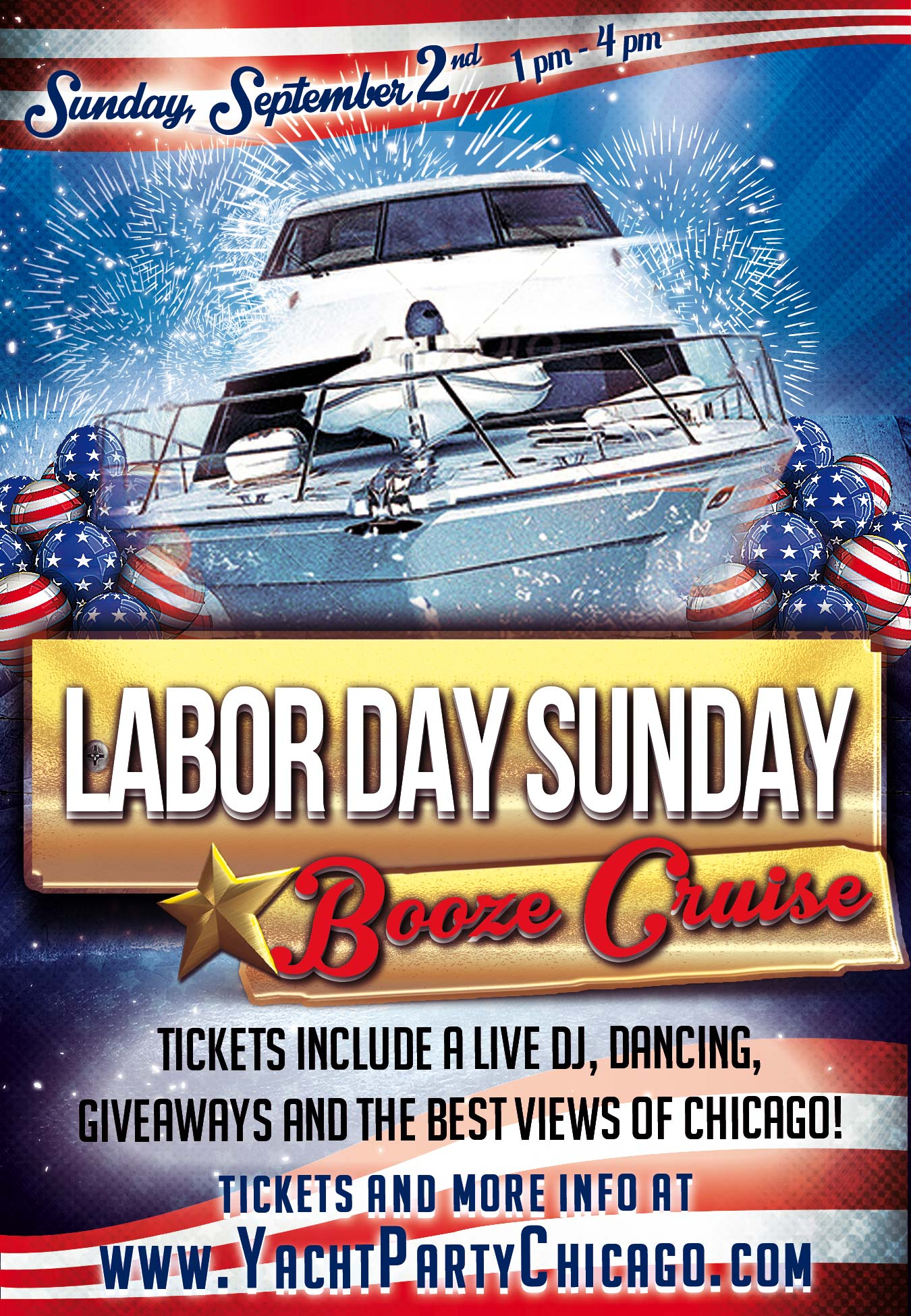 Labor Day Sunday Booze Cruise Party - Tickets include a Live DJ, Dancing, Giveaways, and the best views of Chicago!