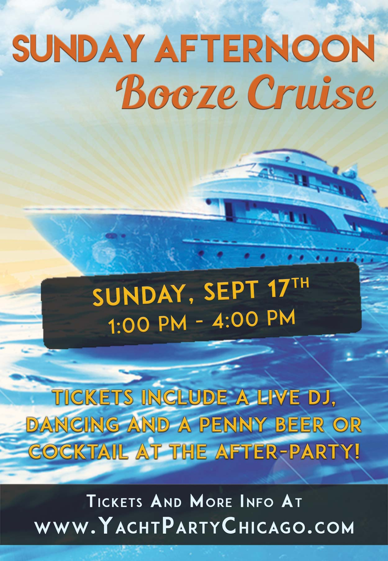 Sunday Afternoon Booze Cruise Partyon Lake Michigan! Tickets include a Live DJ, Dancing, and A Penny Drink At The After-Party at El Hefe! Catch breathtaking views of the skyline while aboard the booze cruise!
