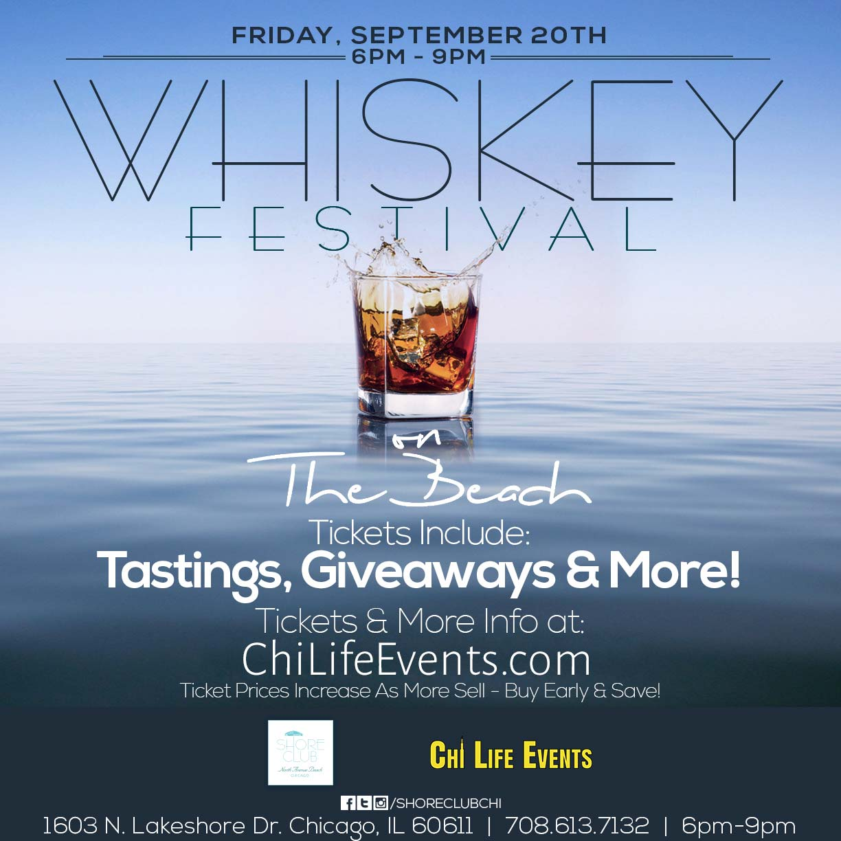 Whiskey Festival on the Beach Party - Tickets include whiskey tastings, giveaways & MORE! We will have a variety of different  whiskeys available for sampling!