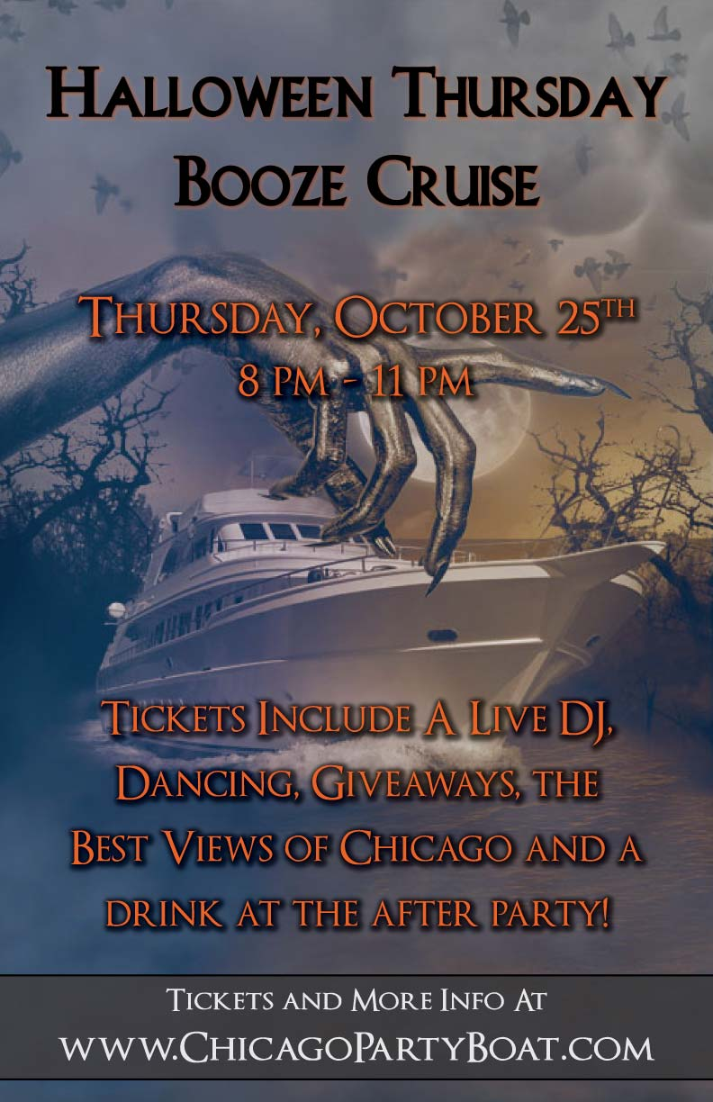 Halloween Thursday Booze Cruise Party - Tickets include a Live DJ, Dancing, Giveaways, the best views of Chicago and a drink at the After-Party!