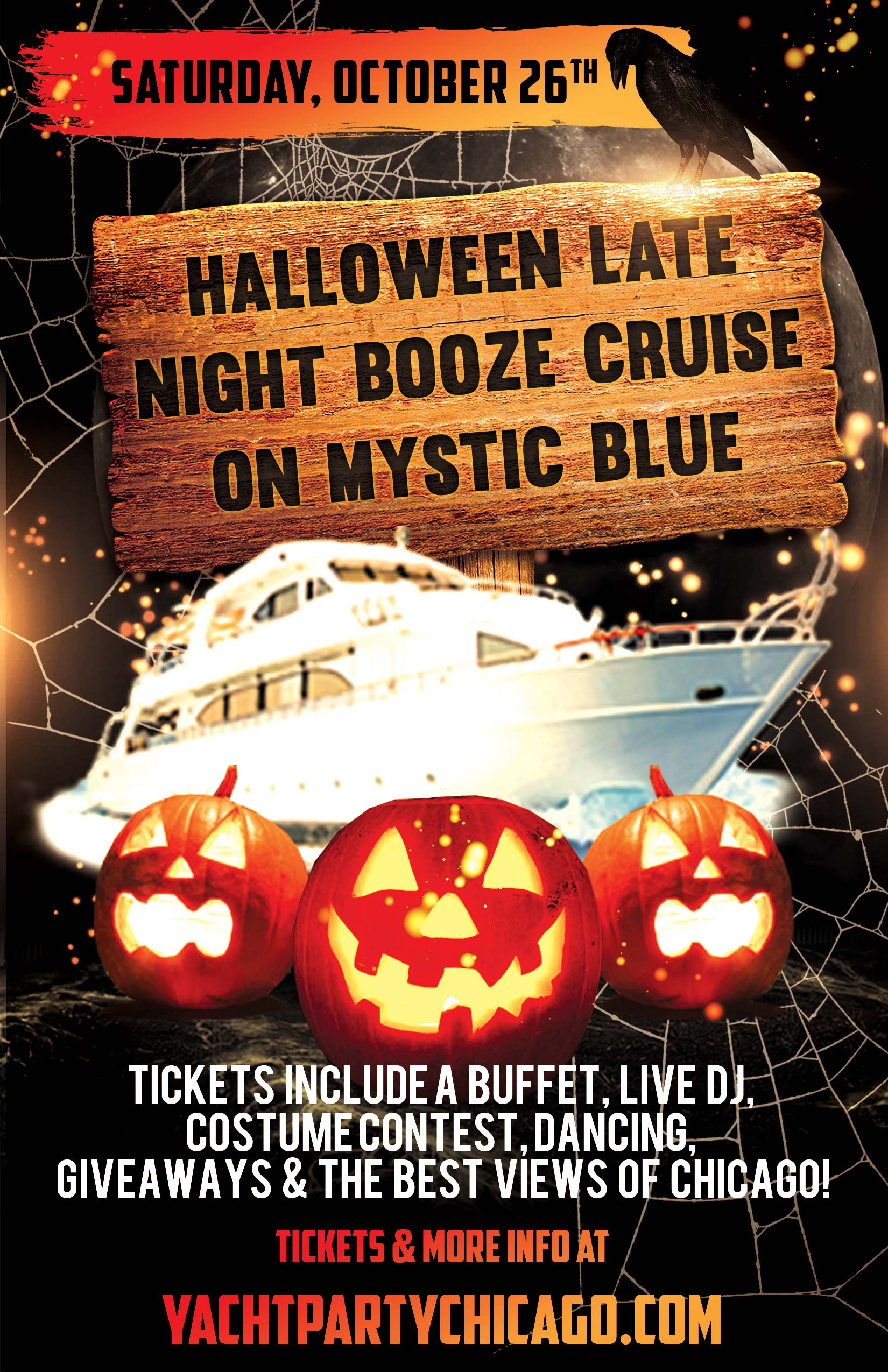 Tickets include a Buffet, Live DJ, Dancing, Giveaways,  a Costume Contest, and the best views of Chicago!