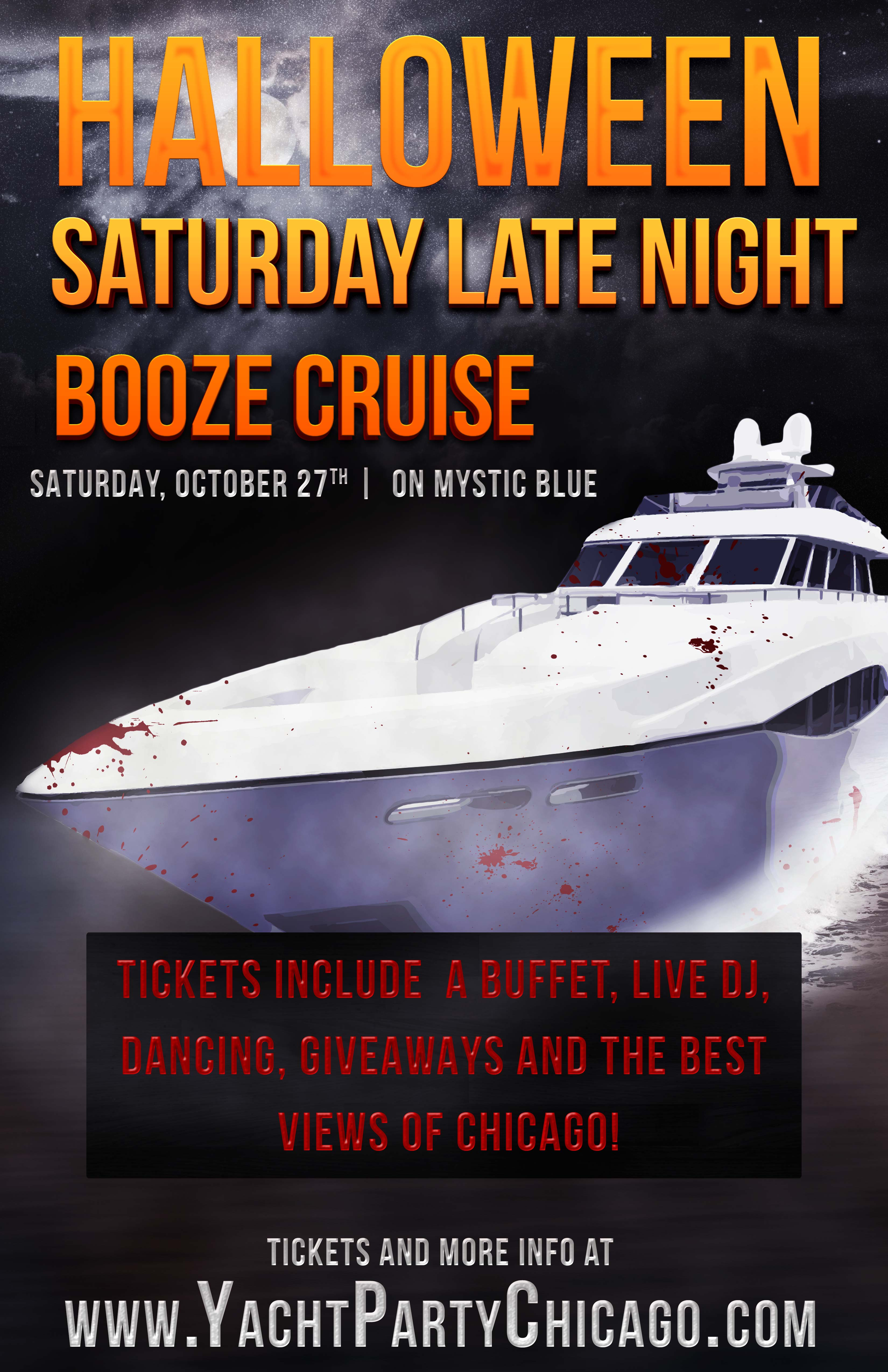 Halloween Saturday Late Night Booze Cruise Party - Tickets include a Live DJ, Dancing, Giveaways, and the best views of Chicago!
