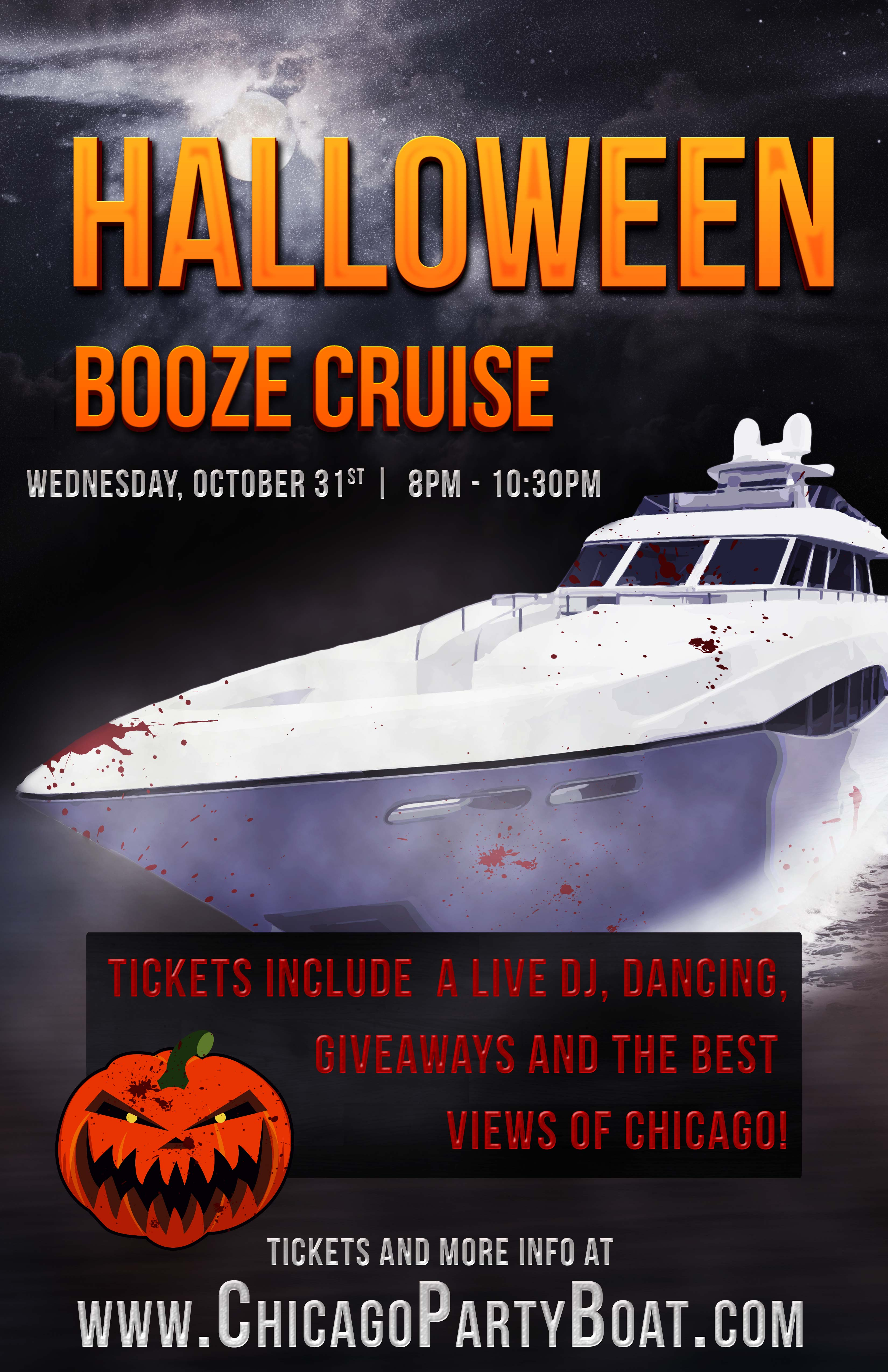 Halloween Booze Cruise Party - Tickets include a Live DJ, Dancing, Giveaways, and the best views of Chicago!