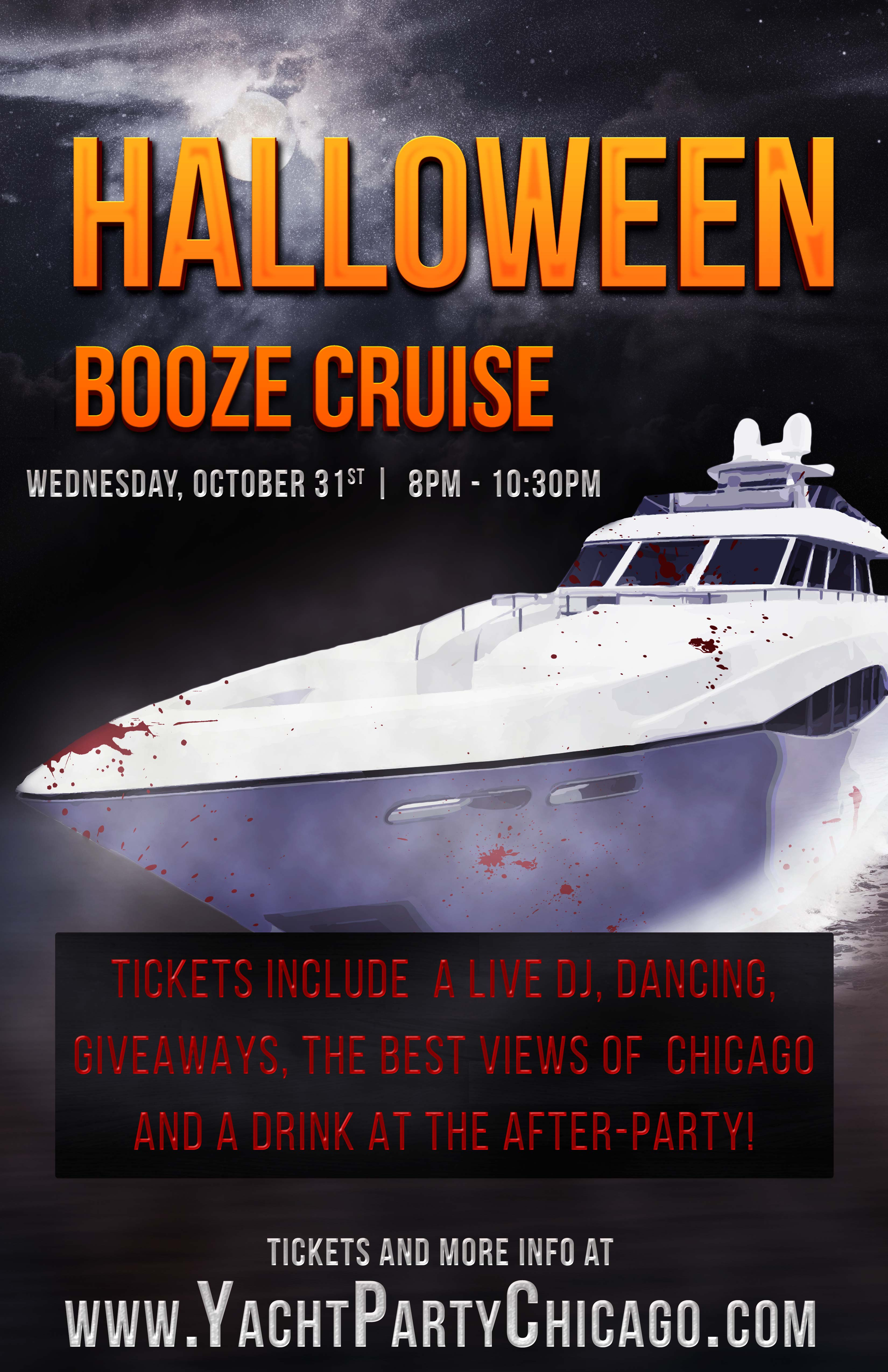 Halloween Booze Cruise Party - Tickets include a Live DJ, Dancing, Giveaways, the best views of Chicago and a drink at the after party!
