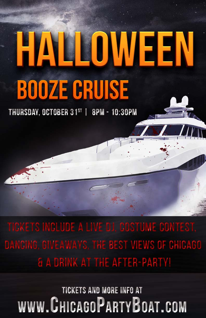 Halloween Booze Cruise Party - Tickets include a Live DJ, Dancing, Giveaways, a Costume Contest, a drink at the after party and the best views of Chicago!
