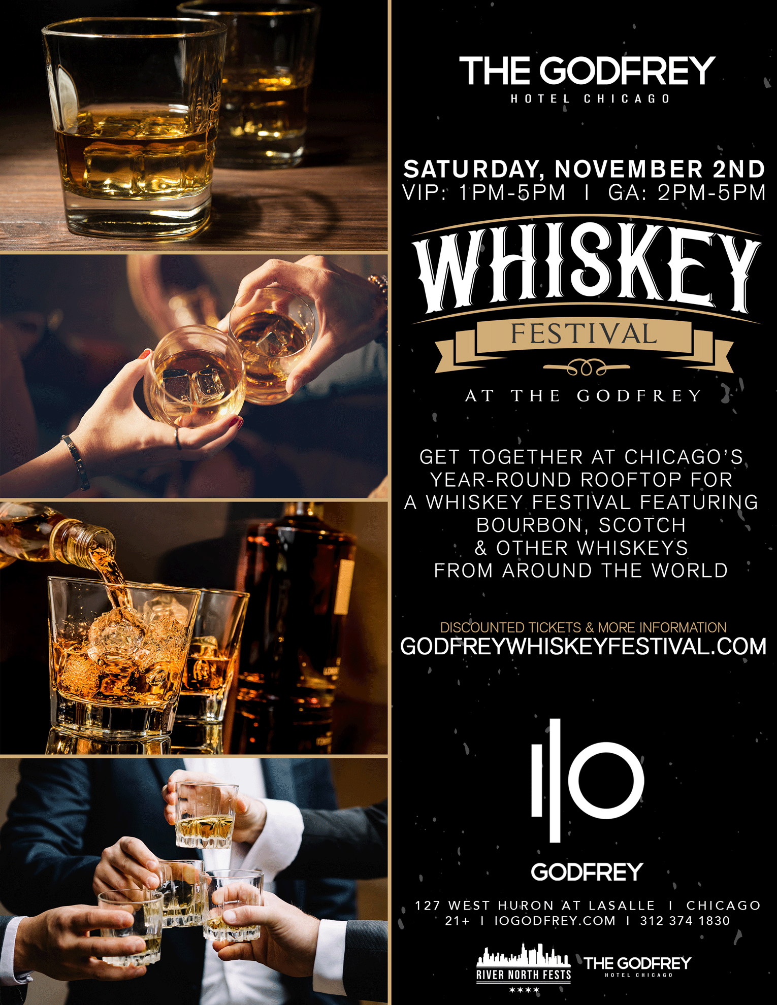 Whiskey Festival at The Godfrey - Get together at Chicago's year-round rooftop for a whiskey festival featuring bourbon, scotch & other whiskey tastings from around the world!