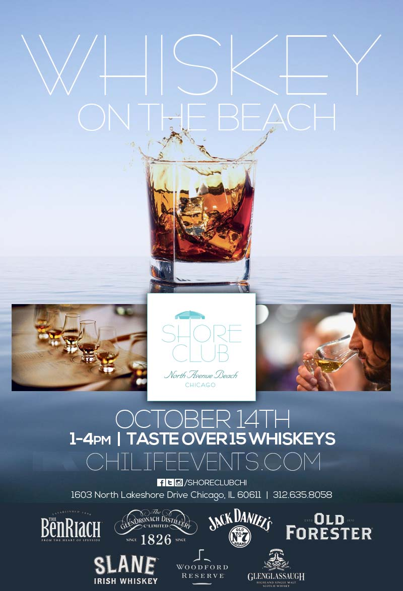 Whiskey on Water Whiskey Tasting Party - Taste a variety of whiskeys, bourbons & scotches while hanging out at Shore Club on North Avenue Beach! We will have over 15 varieties to choose from!