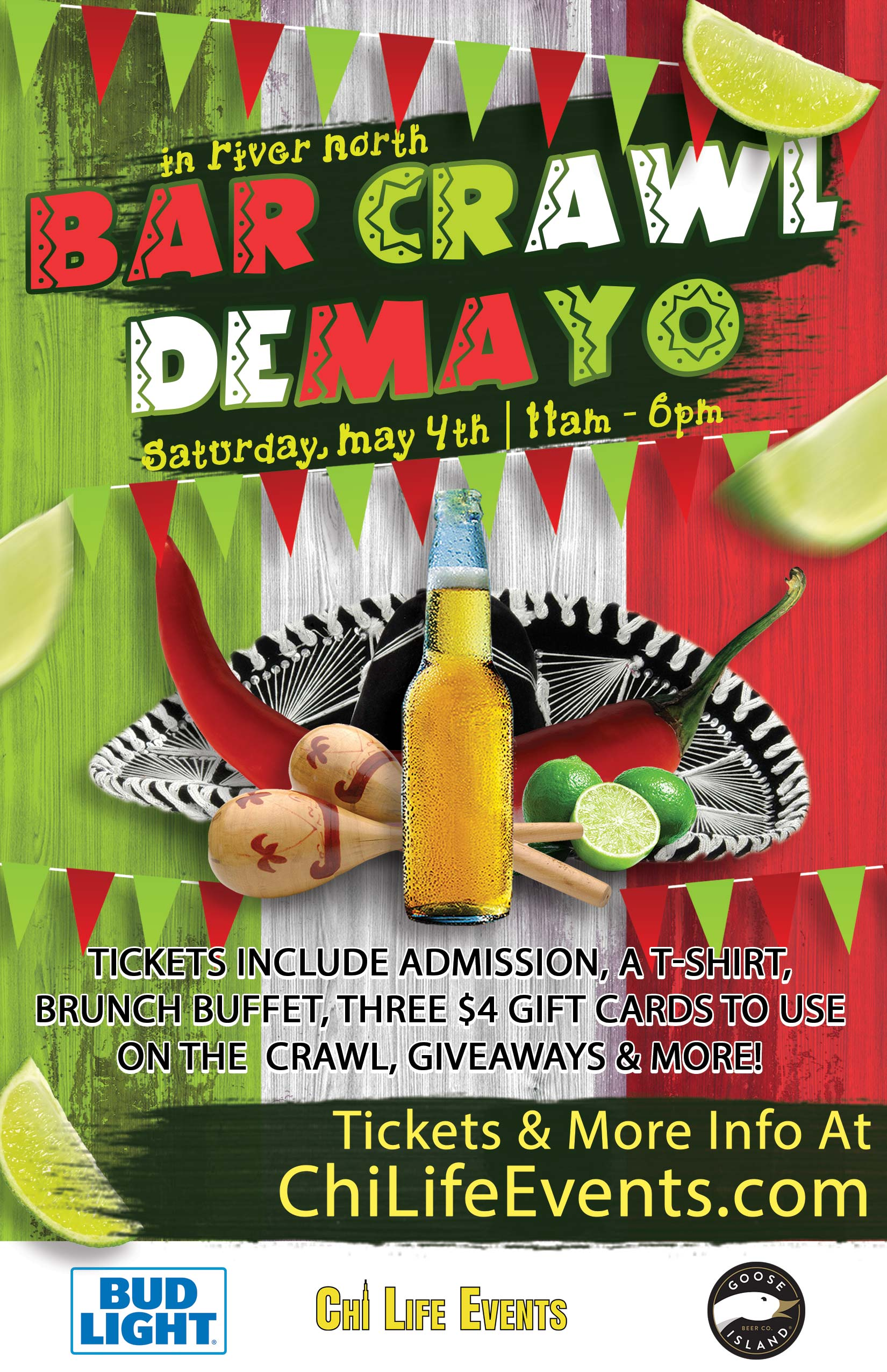 Cinco de Mayo Bar Crawl Party in River North - Tickets include Admission, a T-Shirt, a Brunch Buffet, three $4 Gift Cards to Use on the Crawl, Giveaways & MORE!