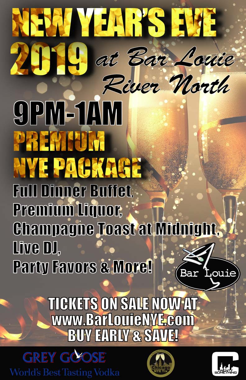 Bar Louie New Year's Eve Party - Tickets Include A Full Dinner Buffet, Our Premium Bar Package From 9pm-1am, Champagne Toast at Midnight, Live DJ and MORE!