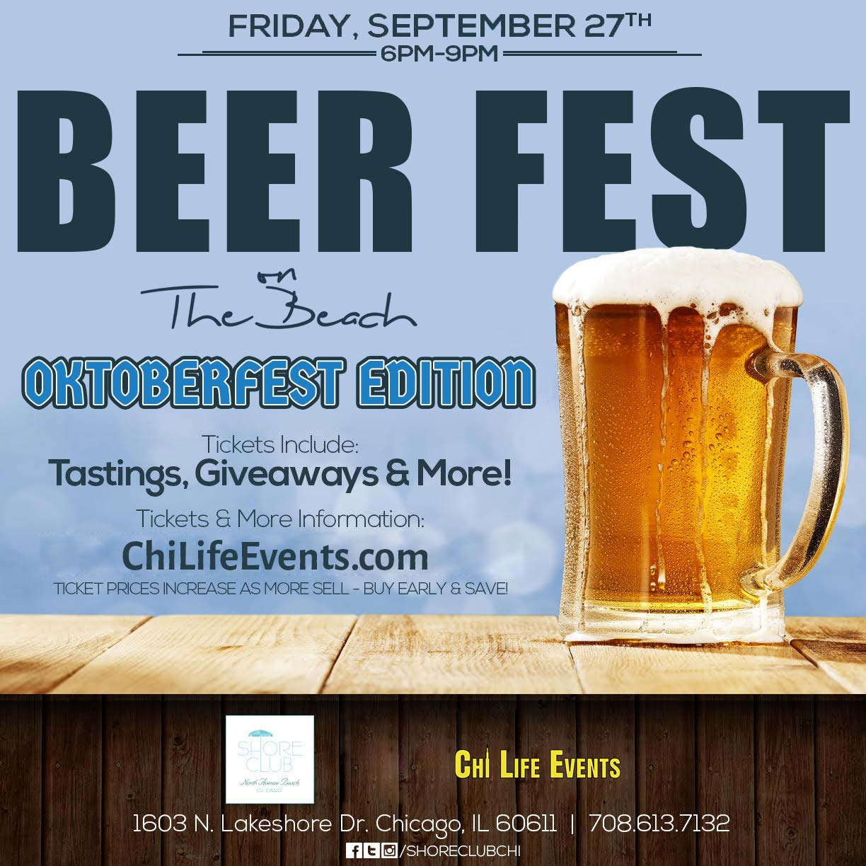 Oktoberfest on the Beach Party - Tickets include 3 hours of beer tastings, giveaways & MORE! We will have a variety of different beer available for sampling!