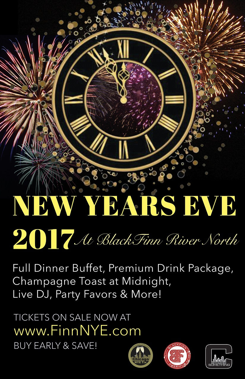 Blackfinn New Year's Eve Party - Tickets Include A Premium NYE Party Package From 9pm-1am:  • Dinner Buffet • Premium Drink Package From 9pm-1am* • Champagne Toast at Midnight • Dance To Your Favorite Hits Spun By DJ Dubbington • Noisemakers & Party Favors provided