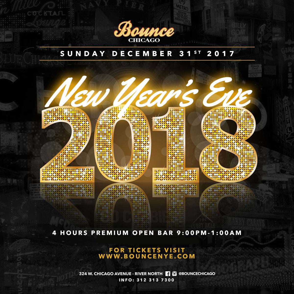 Bounce New Year's Eve Party 2018 - Tickets include: Tickets Include:  • Premium cocktails from 9pm-1am  • Champagne toast at midnight • Hors d'oeuvres from 9pm-10:30pm