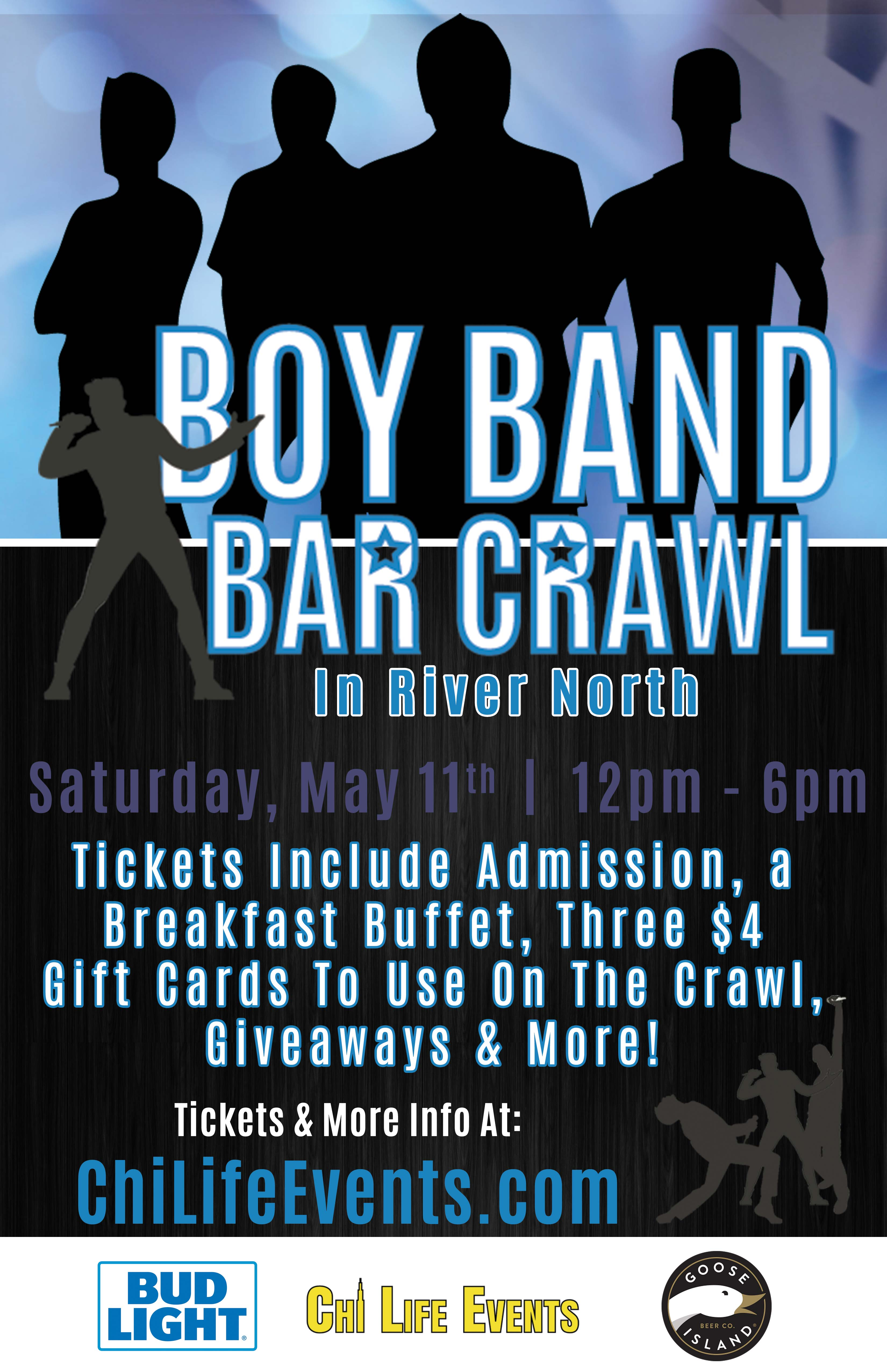 Boy Band Bar Crawl Party - Tickets include Admission, a Breakfast Buffet, Three $4 Gift Cards to Use on the Crawl, Giveaways and More!