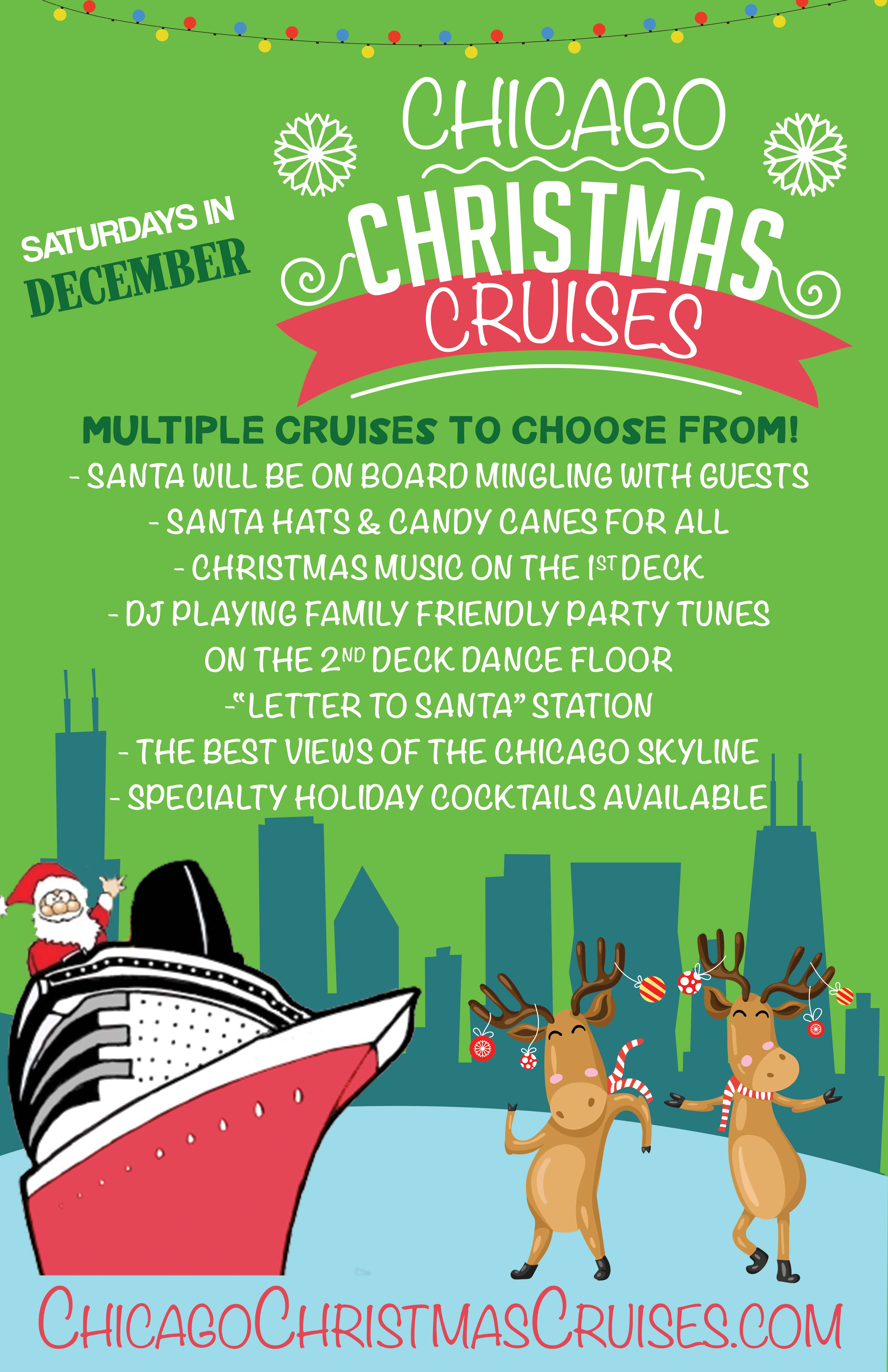 Chicago Christmas Cruise Party - Get into the holiday spirit aboard our three story luxury yacht for the Chicago Christmas Cruise on Lake Michigan!