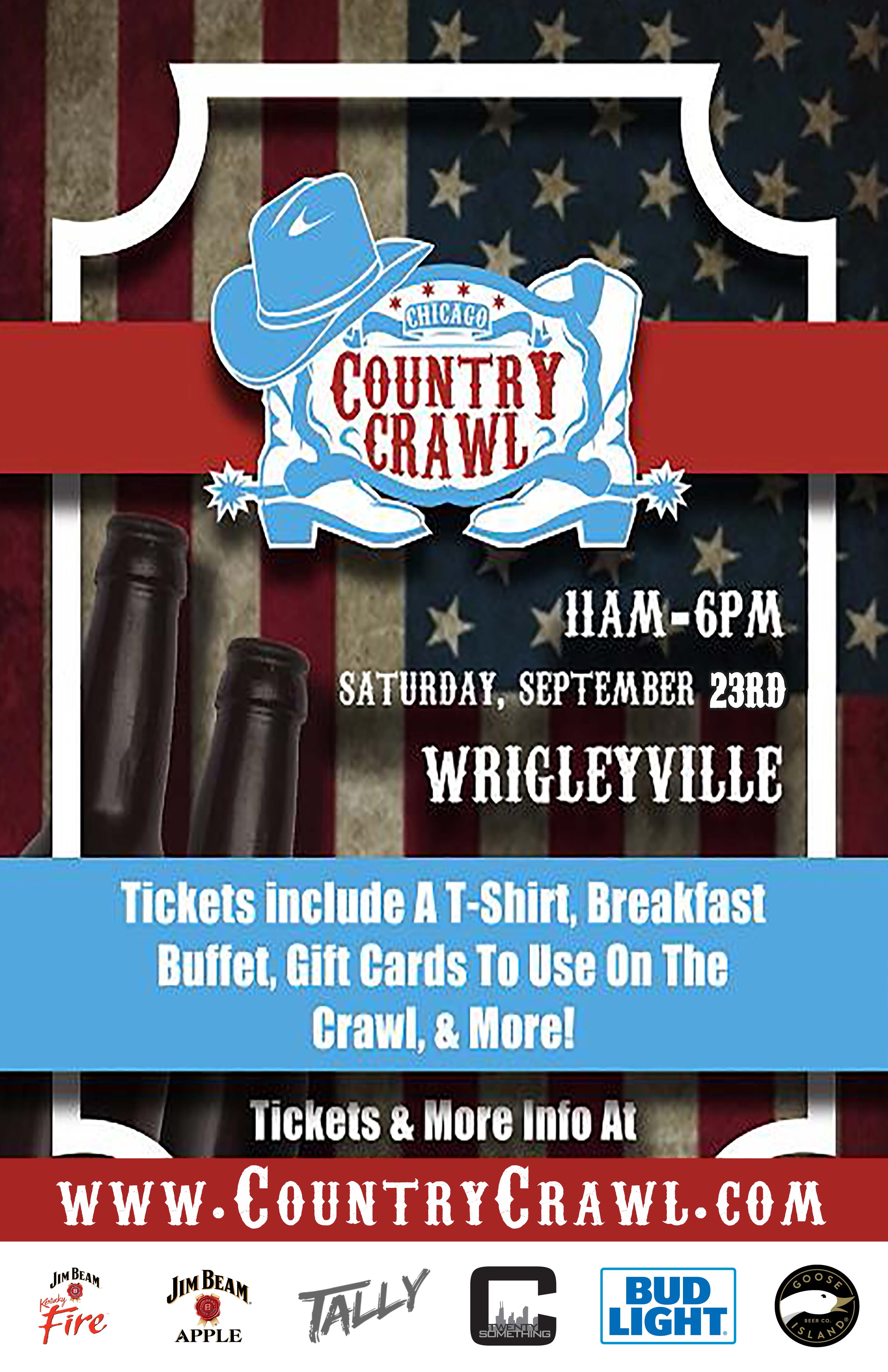 The Country Bar Crawl in Chicago - Tickets include a T-Shirt, Breakfast Buffet, Gift Cards to use on the Crawl & MORE!