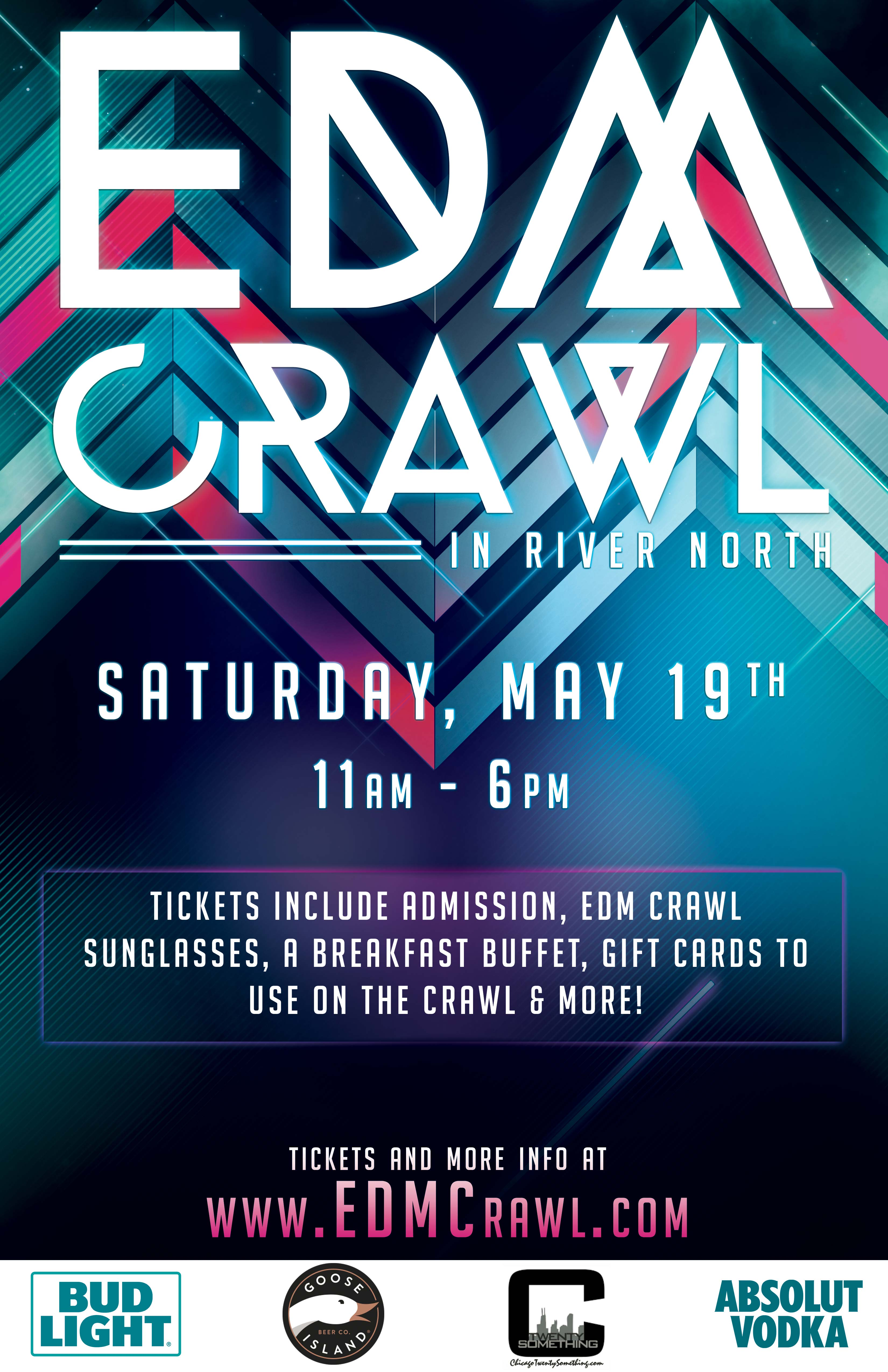Electronic Dance Music (EDM) Bar Crawl Party in Chicago - Tickets include Admission, a Breakfast Buffet, three $4 Gift Cards to use on the crawl, Commemorative Sunglasses, Glowsticks, Giveaways & MORE!
