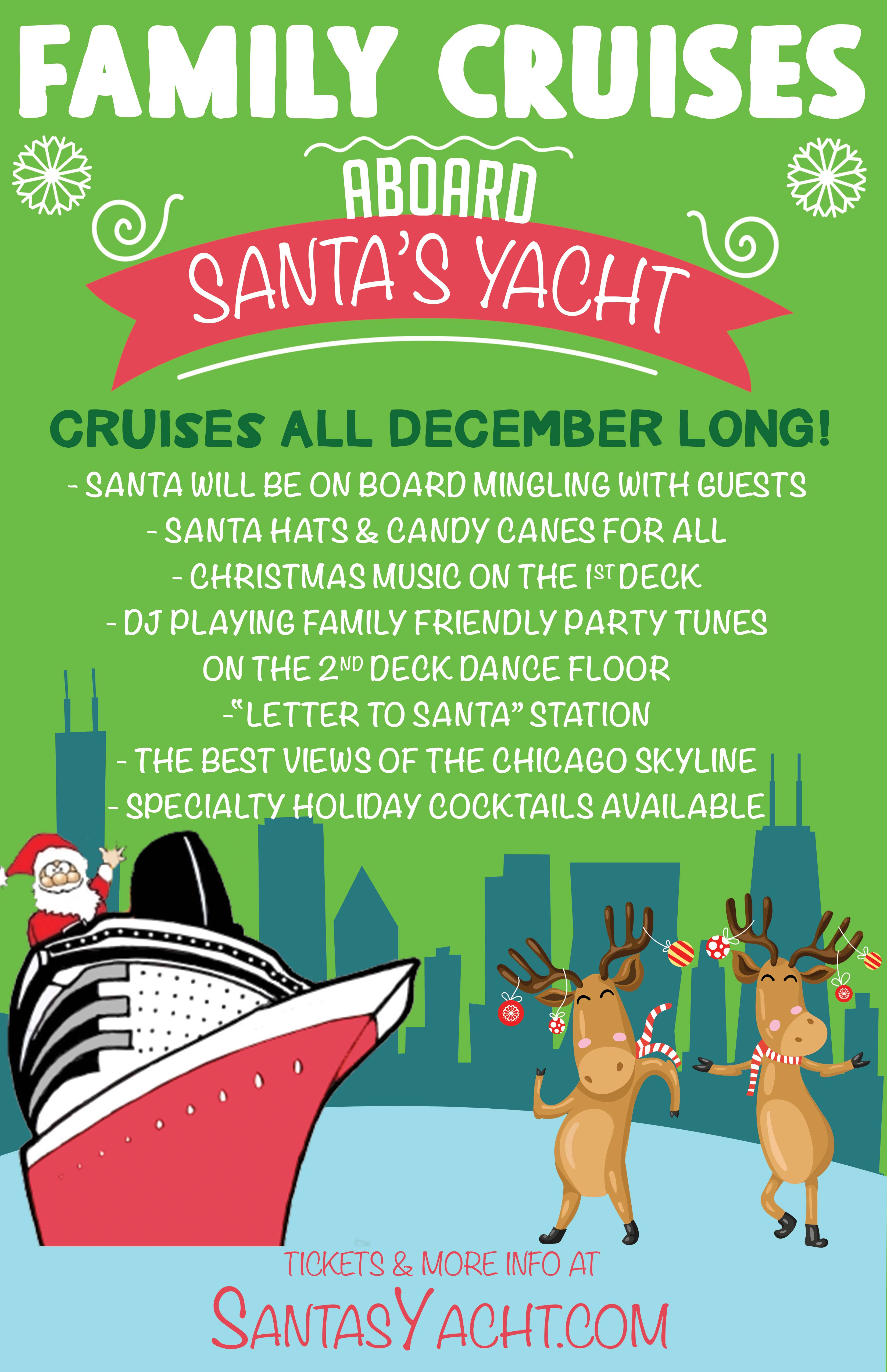 Family Christmas Cruise Party on Lake Michigan - Tickets Include a Live DJ, Candy Canes and Santa Hats for All