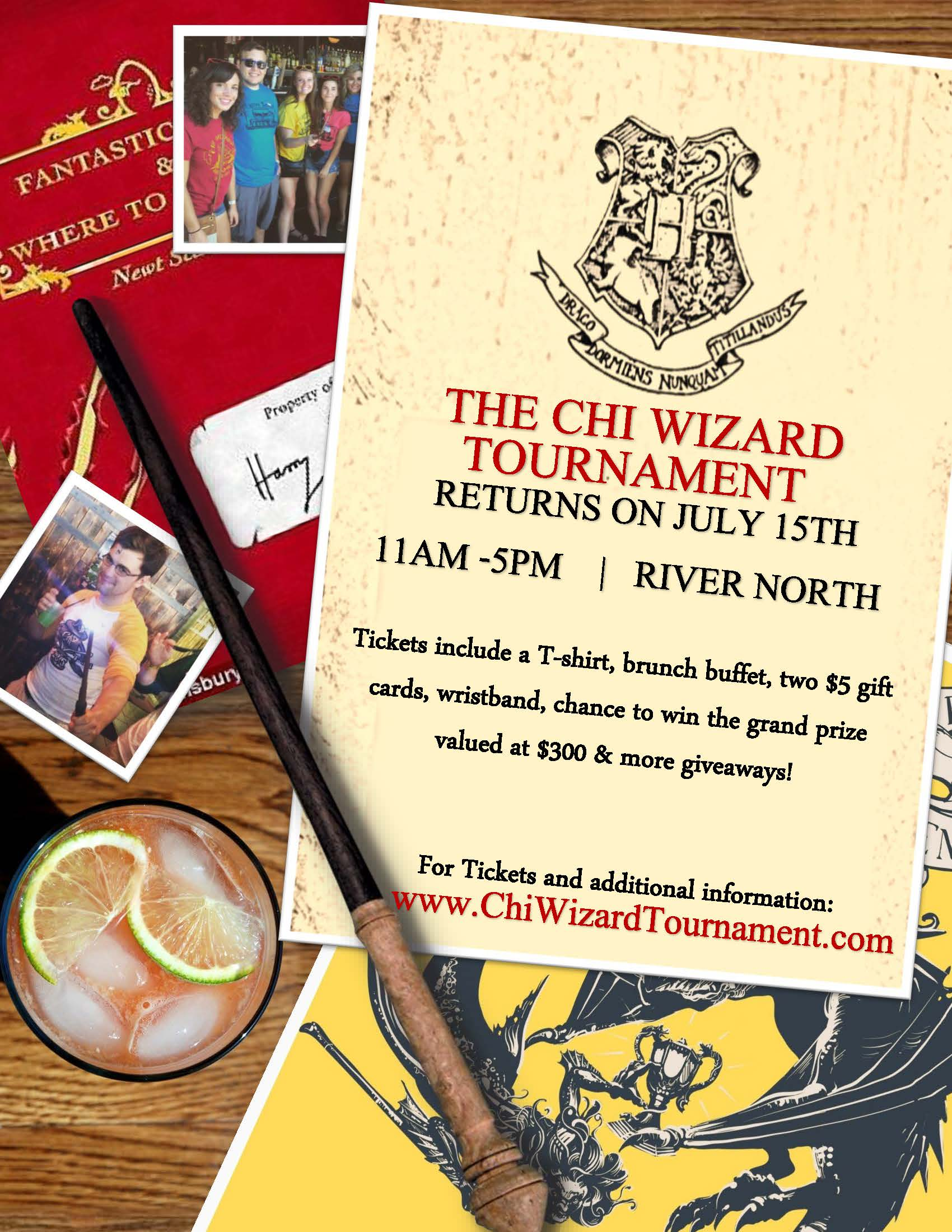 Chi Wizard Tournament - A Harry Potter Bar Crawl in Chicago - Tickets include a T-Shirt, Brunch Buffet, Two $5 Gift Cards To Use On The Crawl, Giveaways & MORE!