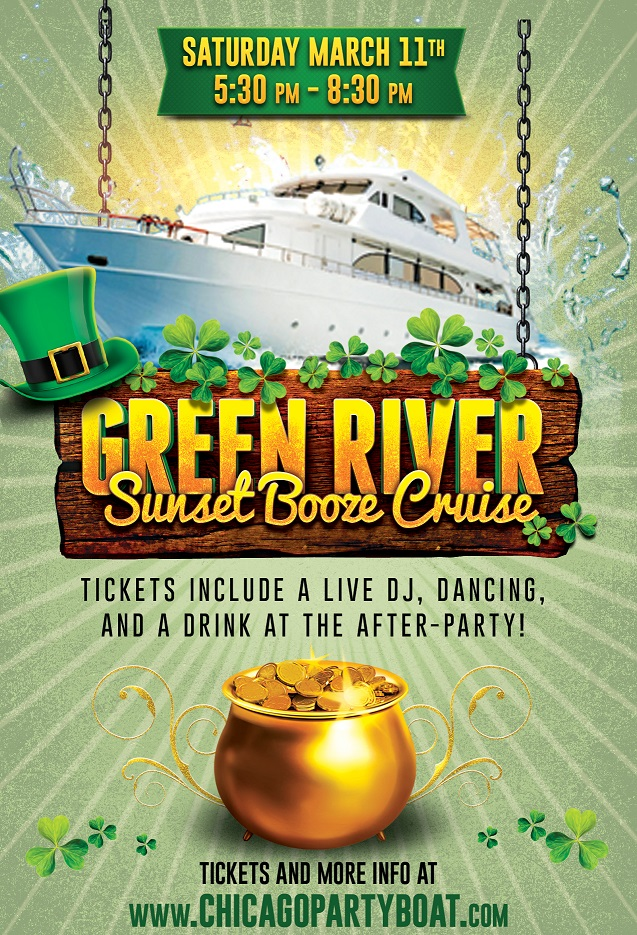 Green River Sunset Booze Cruise! Tickets include a Live DJ, Dancing, and A Drink At The After-Party! Catch breathtaking views of the skyline while aboard the booze cruise!