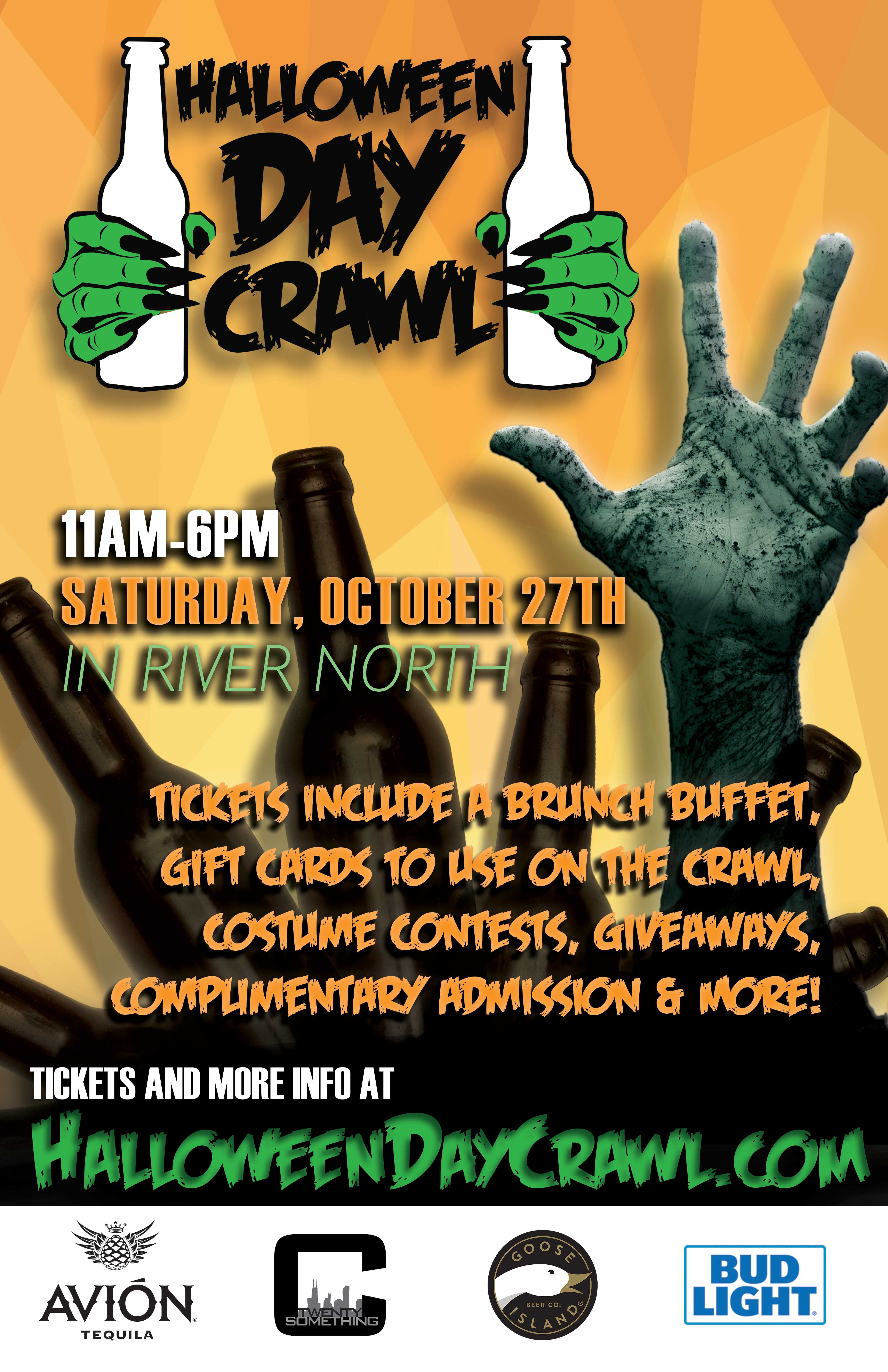 Halloween Day Bar Crawl in Chicago - Tickets include a brunch buffet, gift cards to use on the crawl, costume contests, giveaways, complimentary admission to all bars during their scheduled times & MORE!