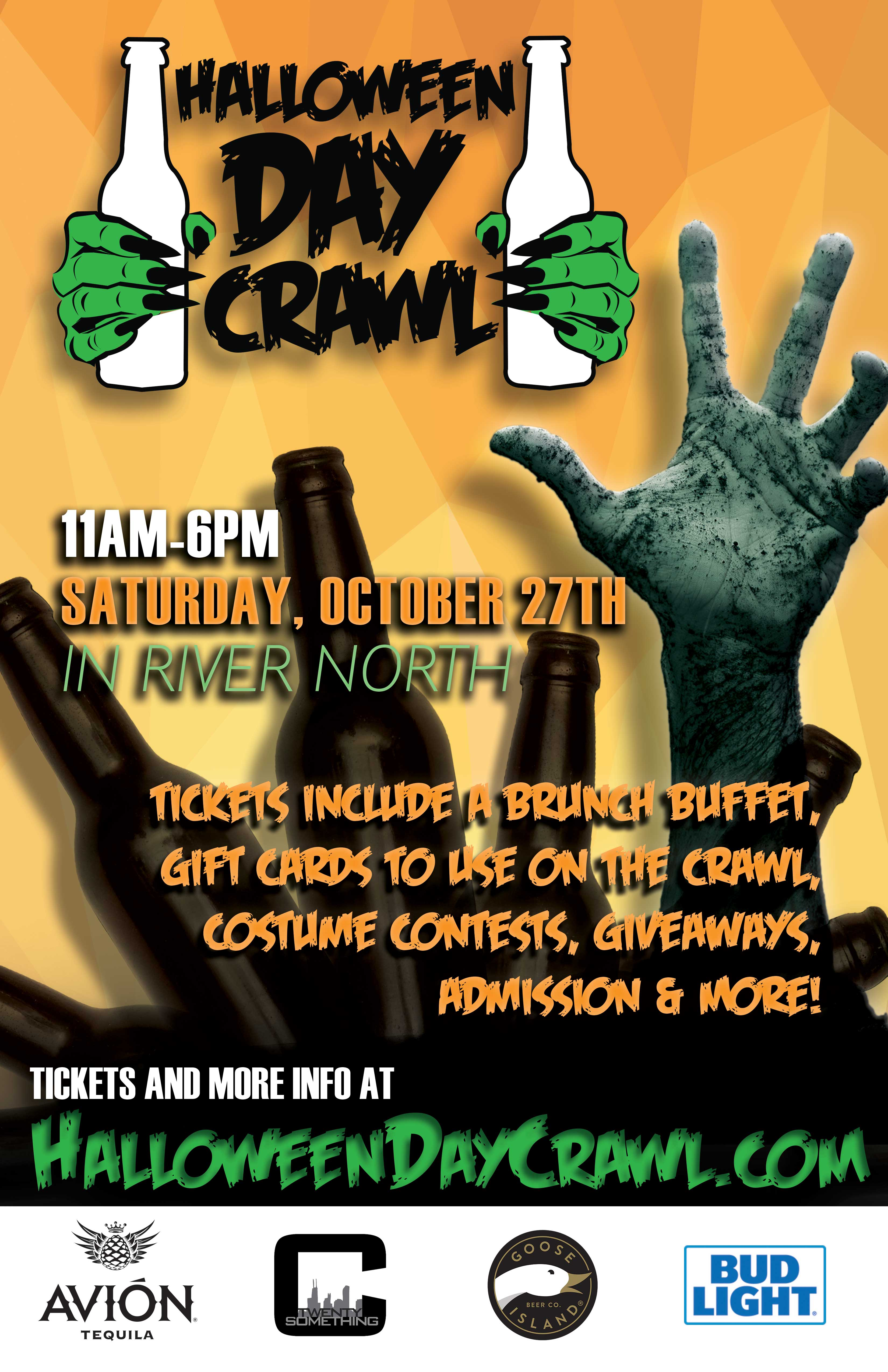 Halloween Day Bar Crawl in Chicago - Tickets include a brunch buffet, gift cards to use on the crawl, costume contests, giveaways, admission to all bars during their scheduled times & MORE!