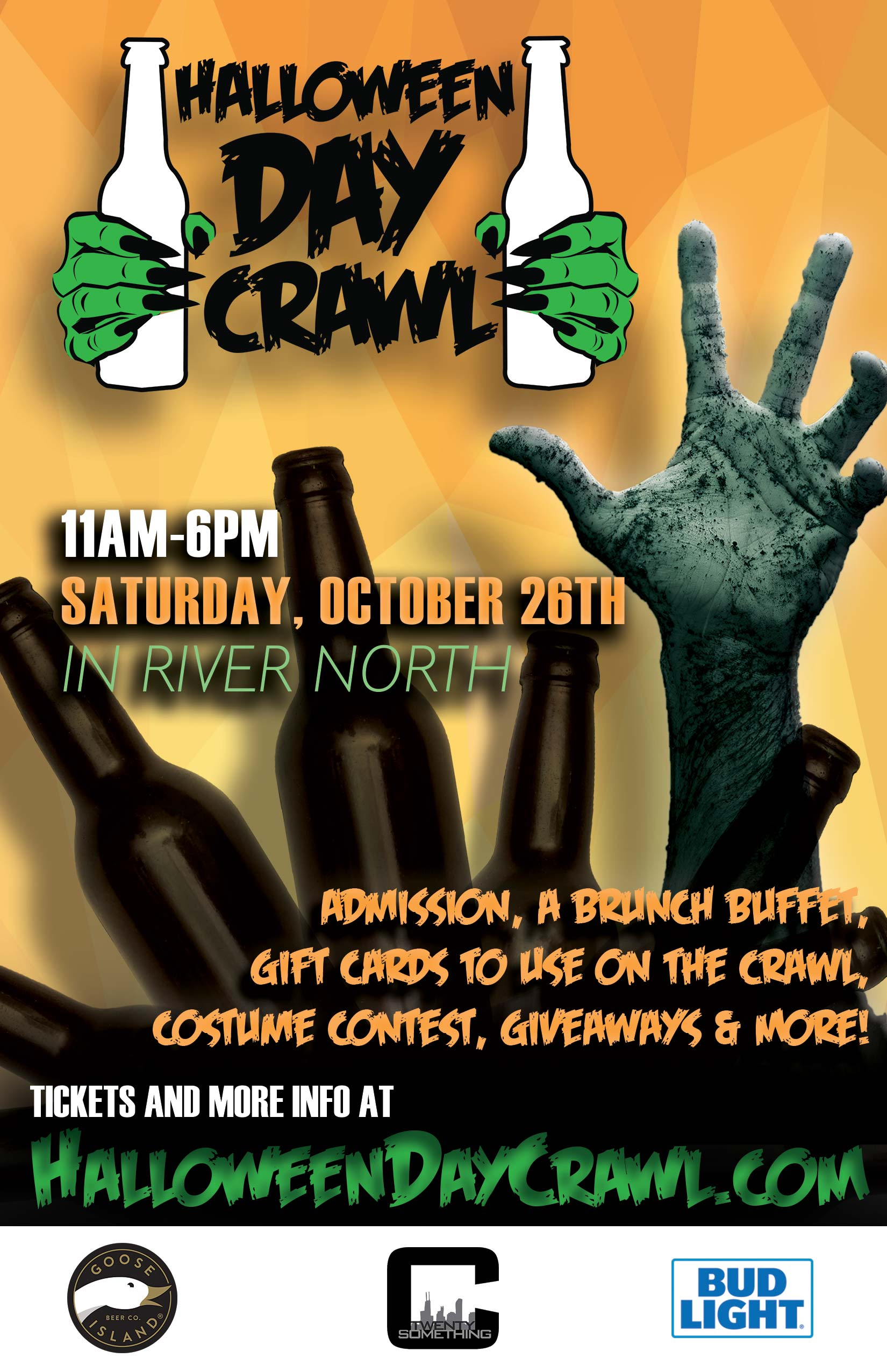Halloween Day Crawl in Chicago - Tickets include Admission & a Free Brunch Buffet, Gift Cards to use on the Crawl, a Costume Contest, Giveaways & MORE!