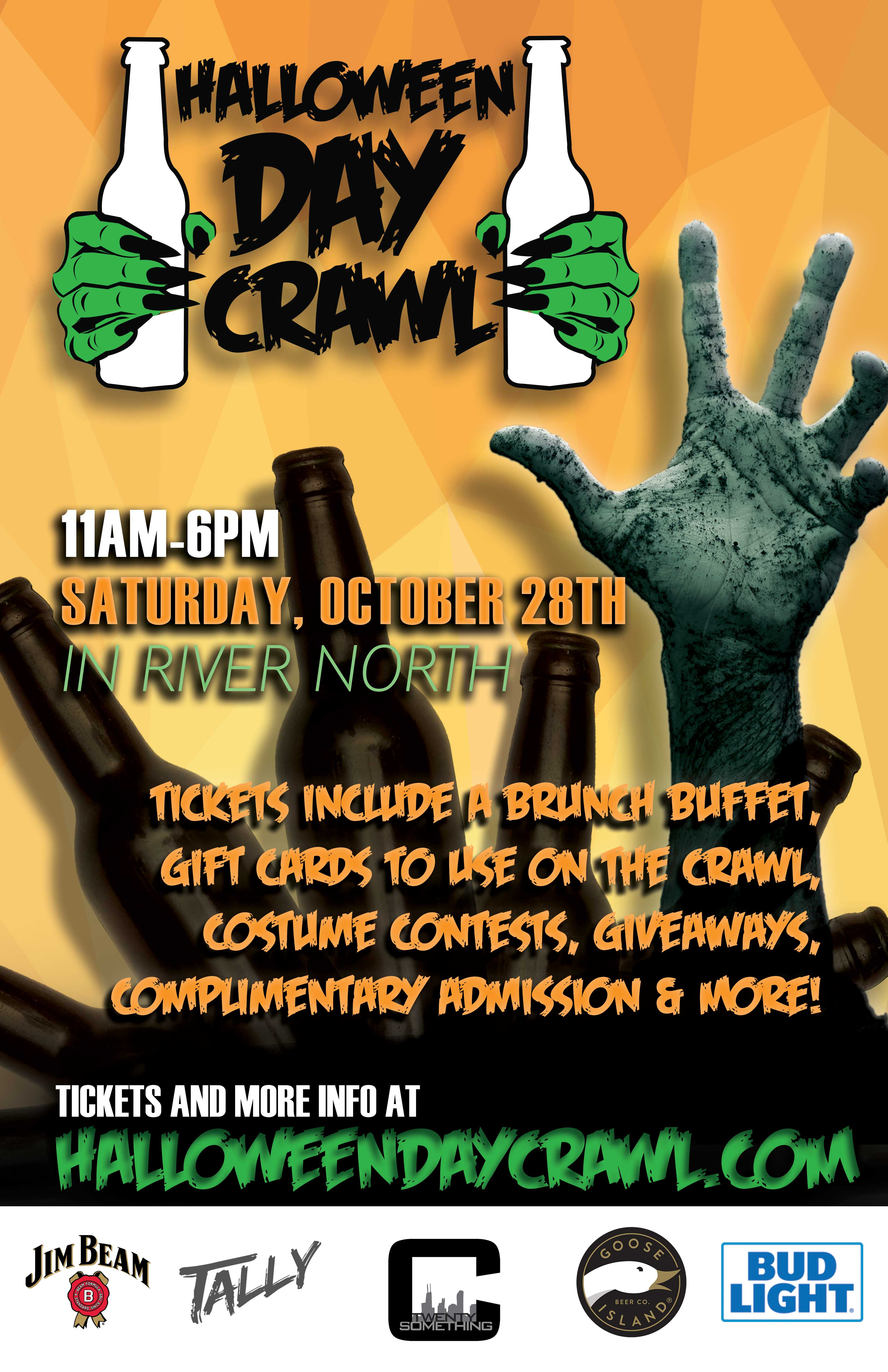 Halloween DAY Crawl Party - Tickets include a brunch buffet, gift cards to use on the crawl, costume contests, giveaways & MORE!