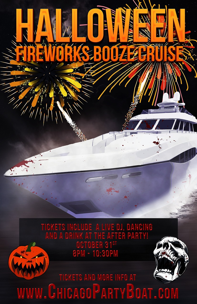 Halloween Fireworks Booze Cruise on Lake Michigan! Tickets include a Live DJ, Dancing, and A Drink At The After-Party! Catch breathtaking views of the skyline while aboard the booze cruise!