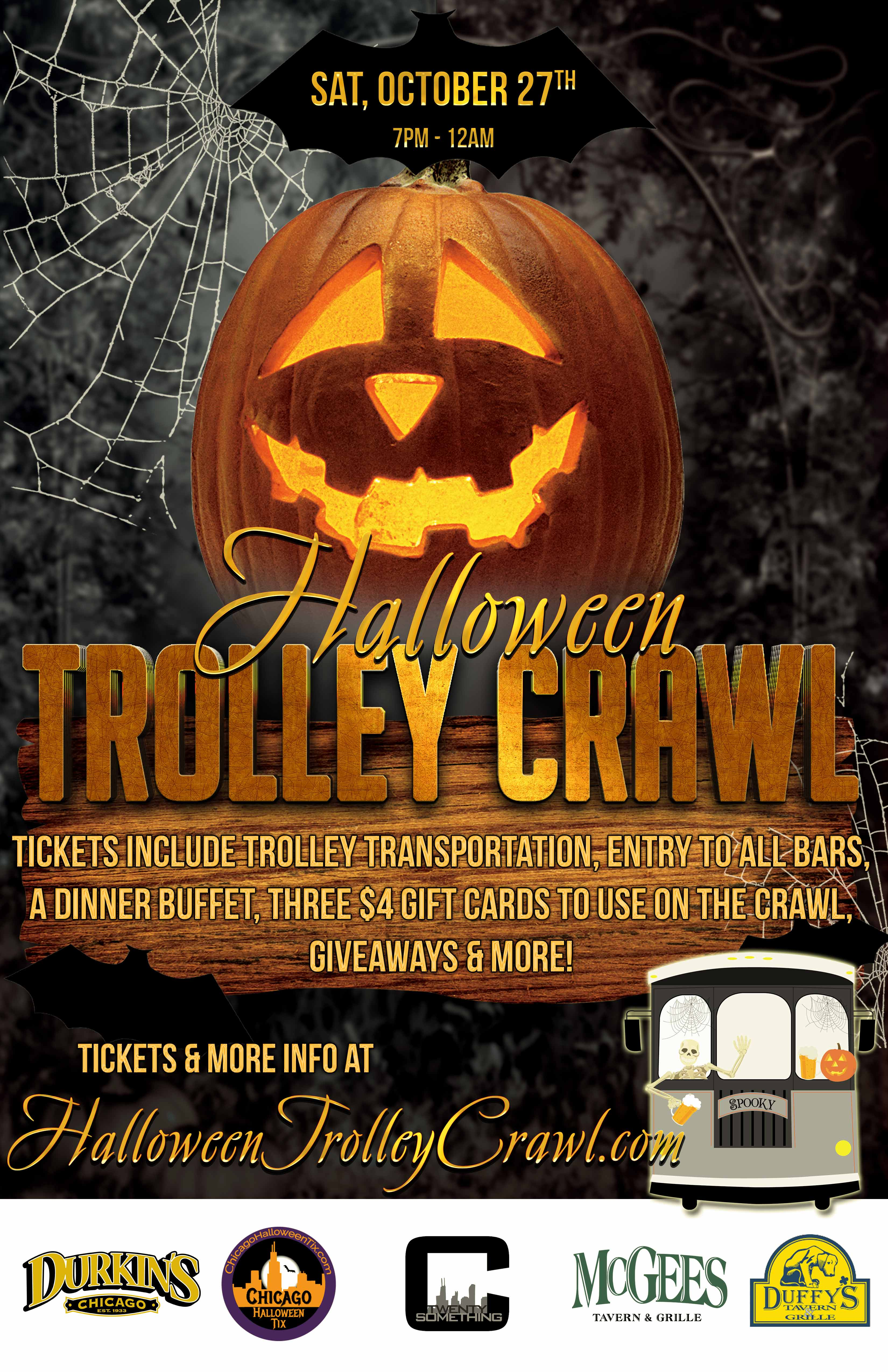 Halloween Trolley Crawl - Tickets Include Trolley Transportation, Entry To All Bars, A Dinner Buffet, Three $4 Gift Cards To Use On The Crawl, Giveaways & More!