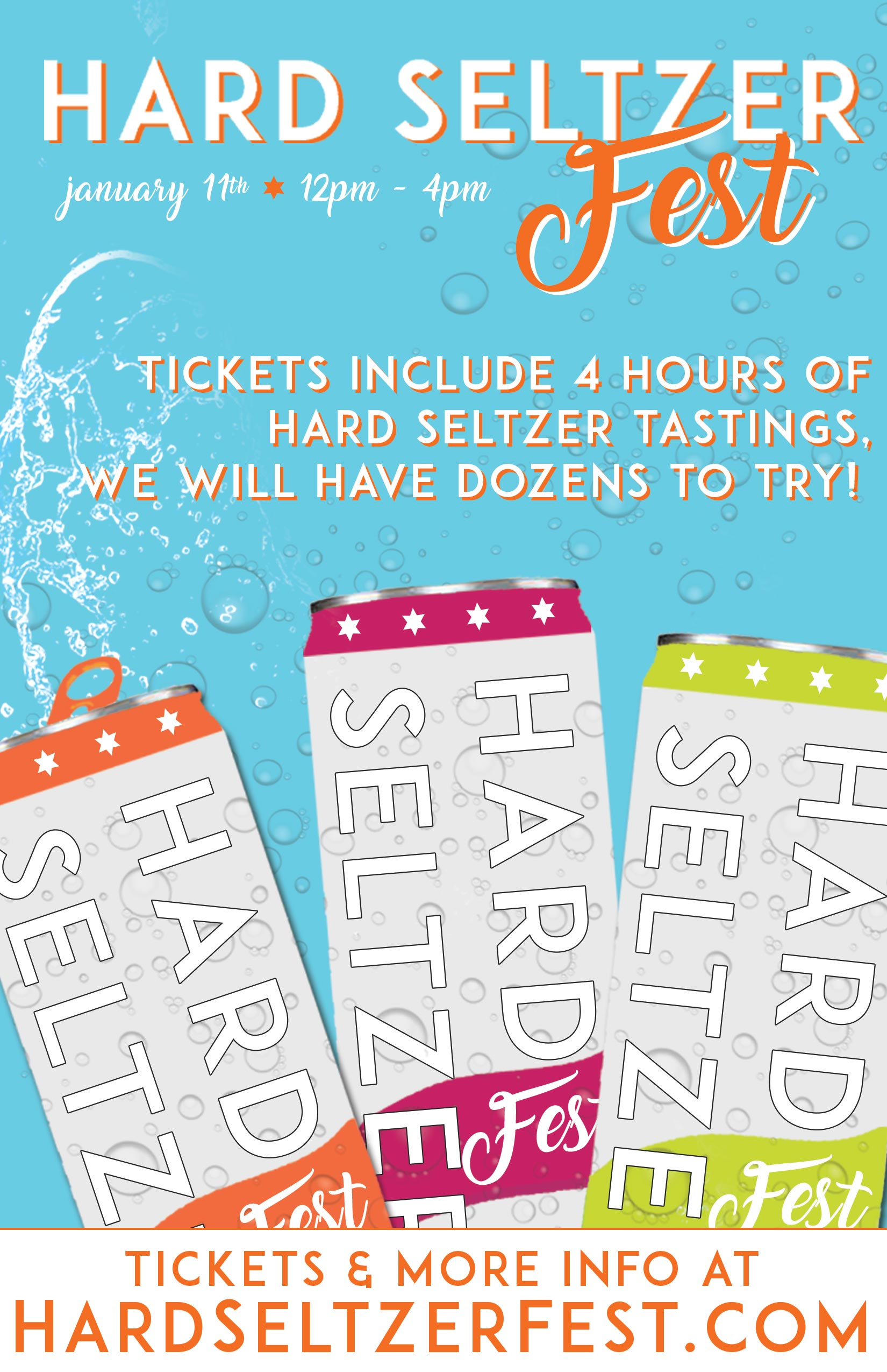 Hard Seltzer Fest Tasting Party - Tickets include dozens of different hard seltzers to sample. Buy NOW!