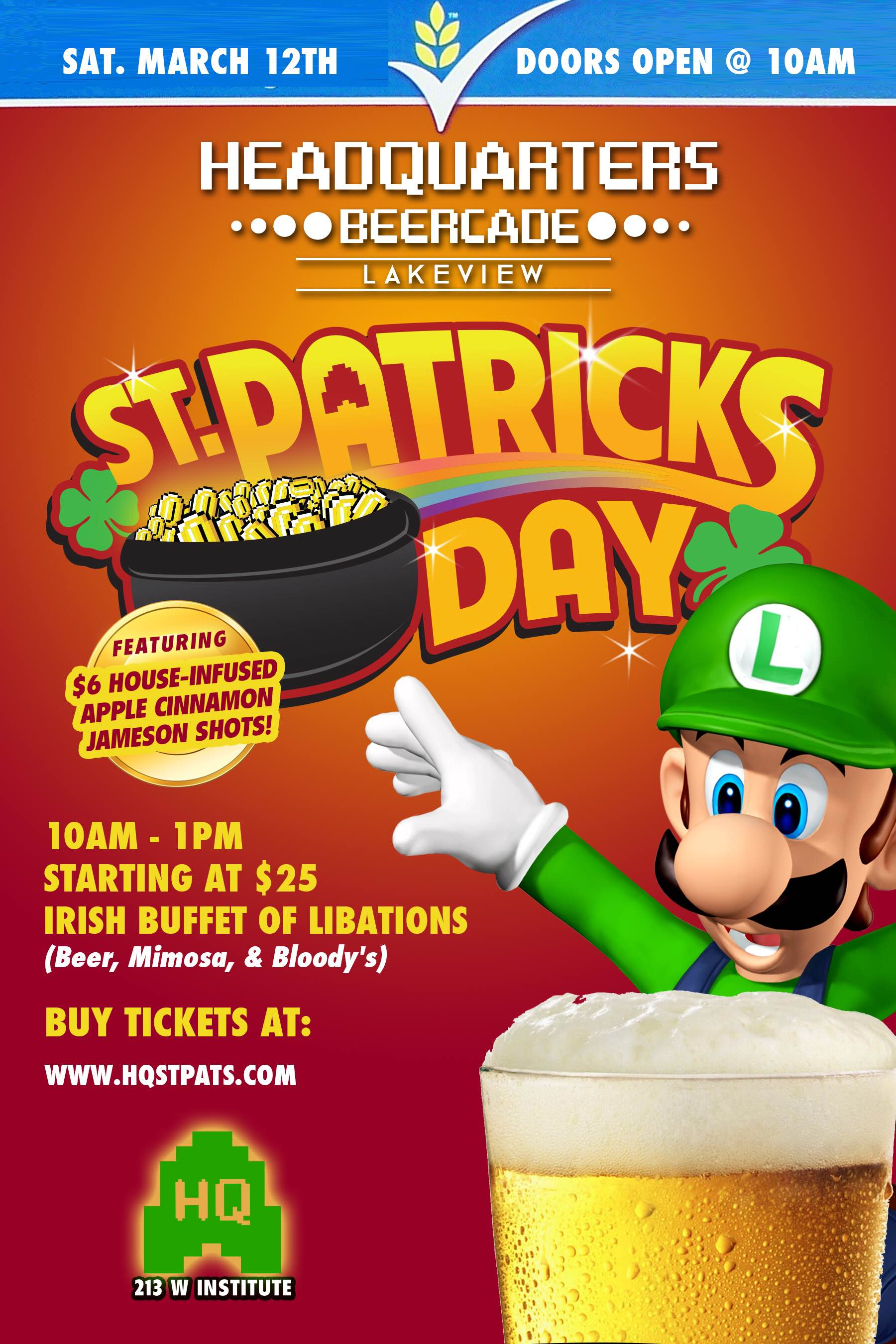 St patrick 39 s day at headquarters lakeview tickets sat for Doordash gift card