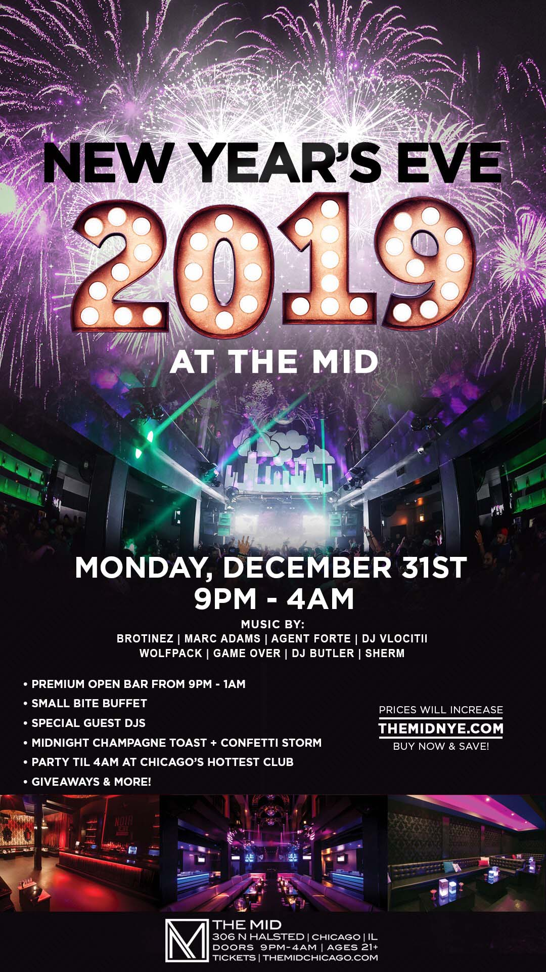New Year's Eve Party at the MID - Tickets include A PREMIUM OPEN BAR WITH A SMALL BITE BUFFET FROM 9pm - 1AM