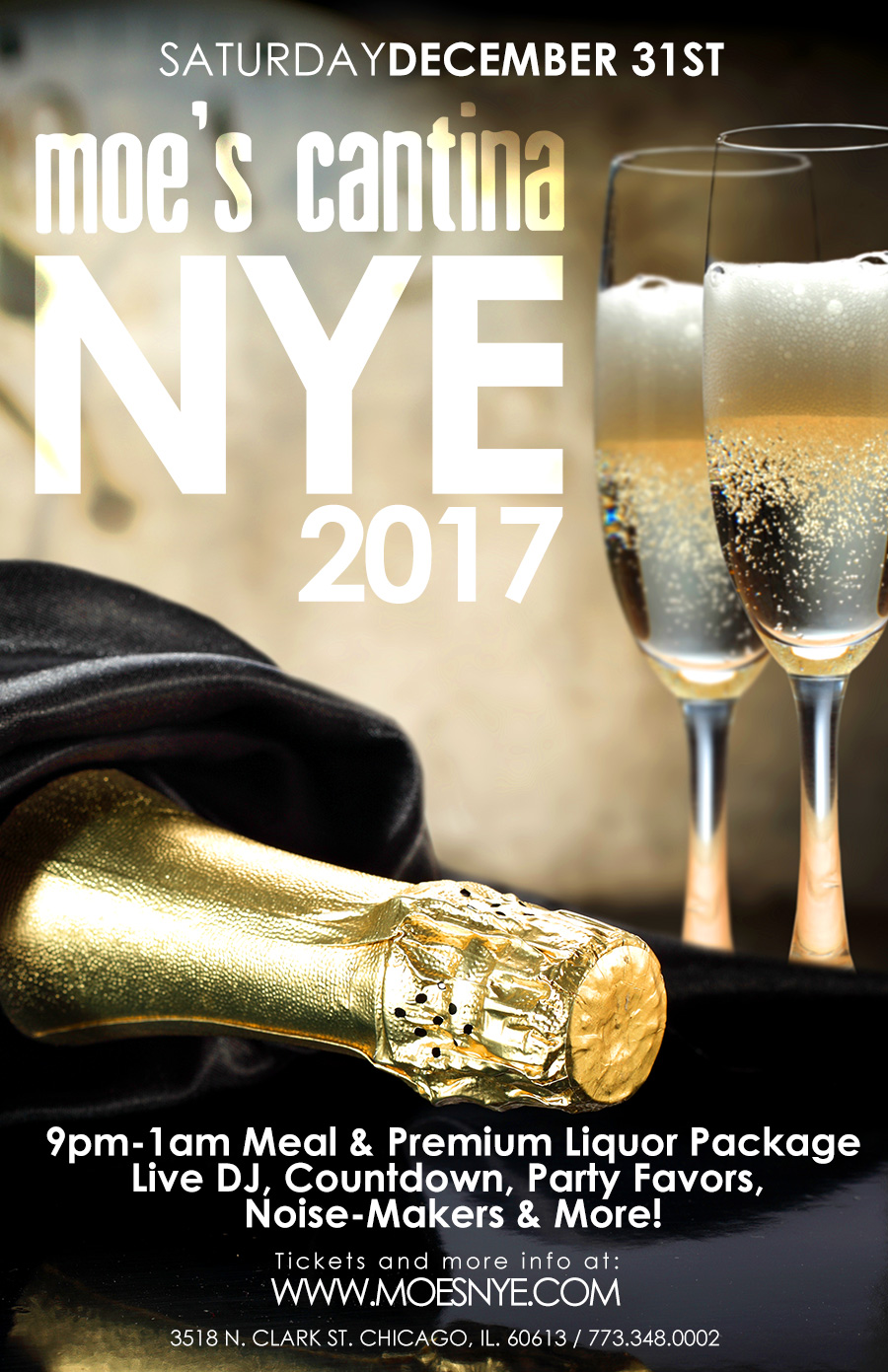 Moe's Cantina Wrigleyville New Year's Eve Party - Join us at the best cantina in Wrigleyville for a Countdown, Party Favors & More!