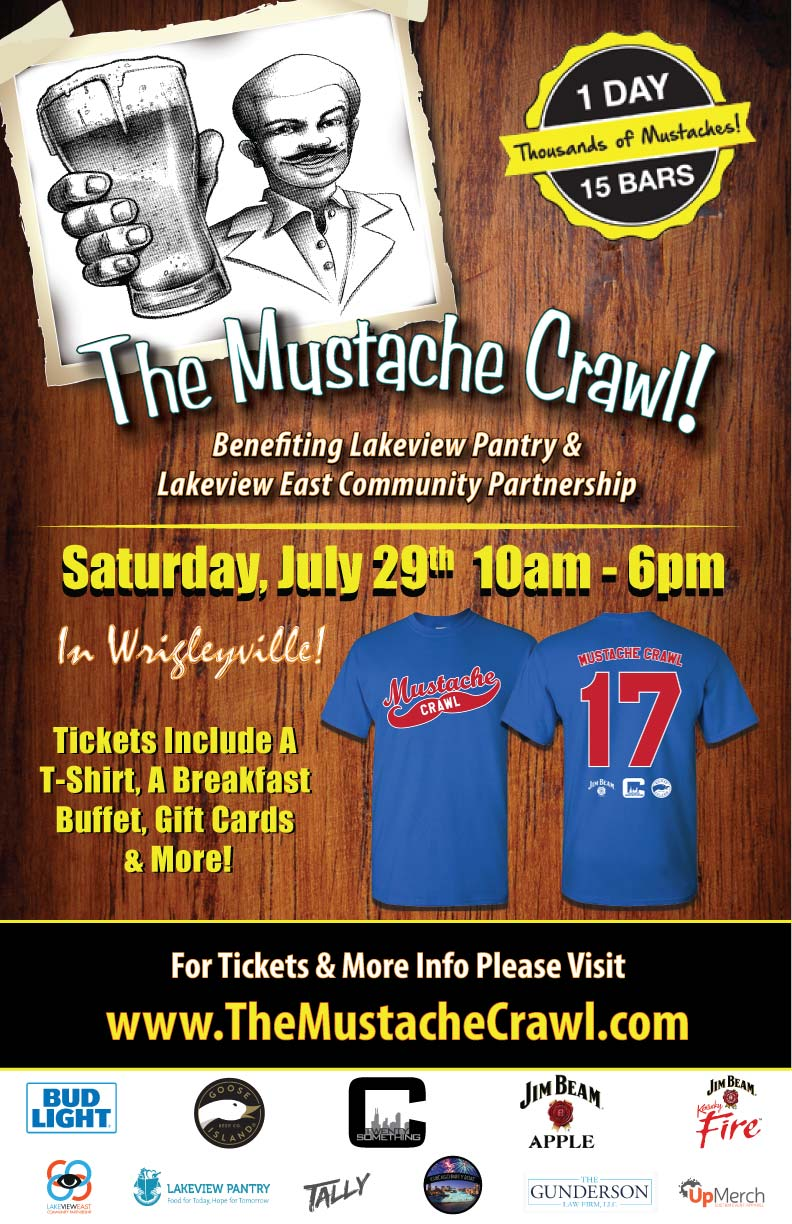 The Mustache Bar Crawl Party in Wrigleyville - Chicago - Tickets include an Official Crawl T-Shirt, a Breakfast Buffet, Gift Cards to use on the crawl, giveaways & MORE!