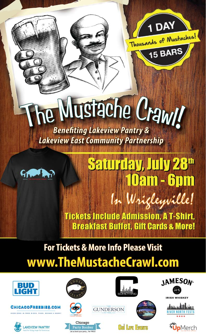 The Mustache Crawl Party in Chicago - Tickets include a T-Shirt, Breakfast Buffet, Gift Cards to Use on The Crawl, Giveaways & MORE!