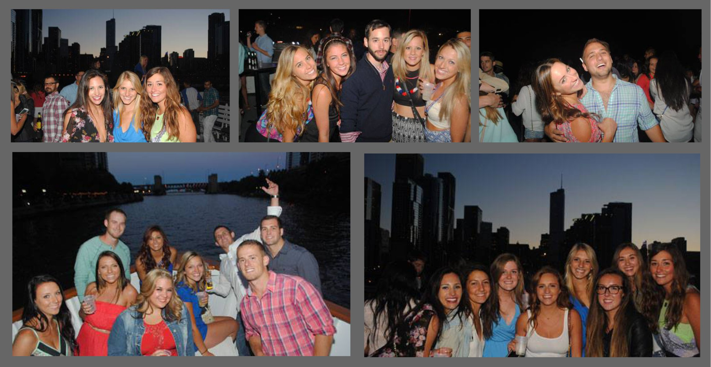 Chicago Night Booze Cruise Collage