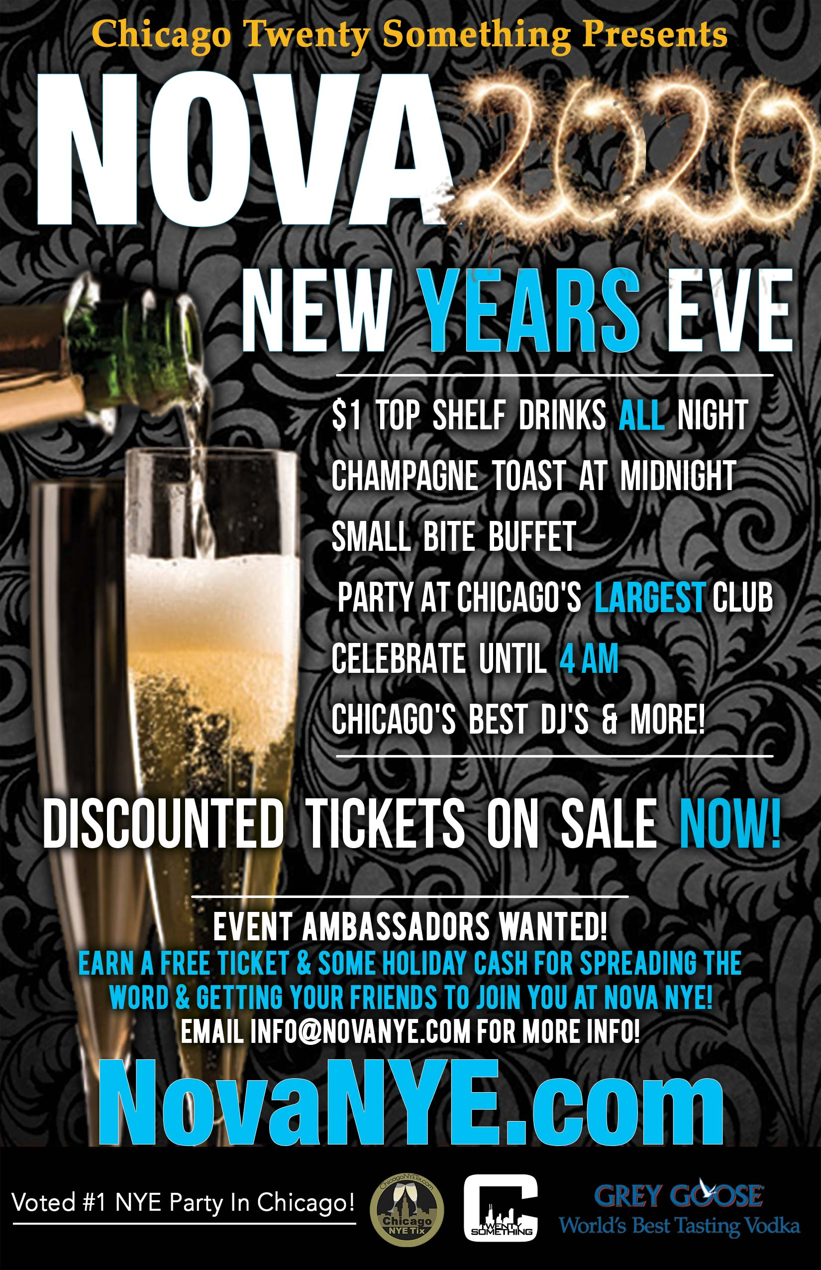 Nova New Year's Eve Party - Tickets include $1 Top Shelf Drinks all night including Belvedere, Crown Royal, Red Bull, etc.