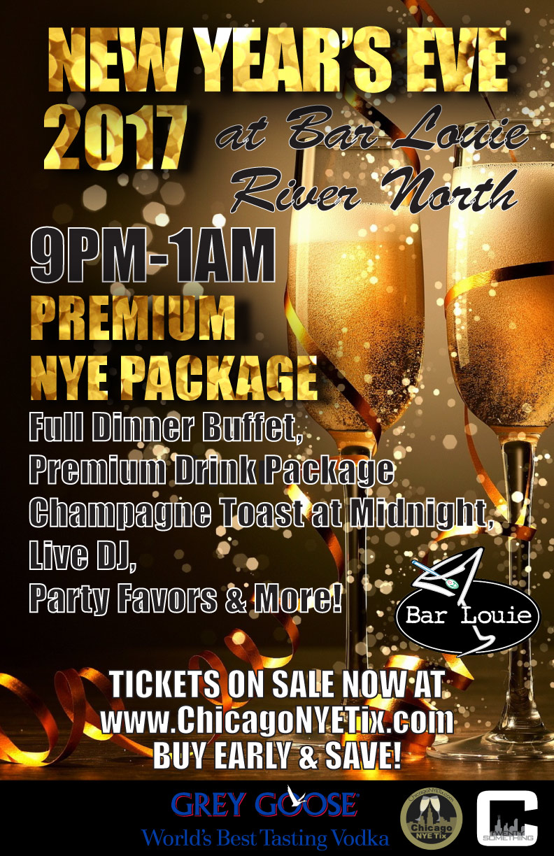 Bar Louie River North New Year's Eve - Tickets Include A Premium NYE Party Package From 9pm-1am:  • Dinner Buffet • Premium Drink Package from 9pm-1am* • Champagne Toast at Midnight • Live DJ & Dancing • Noisemakers & Party Favors provided