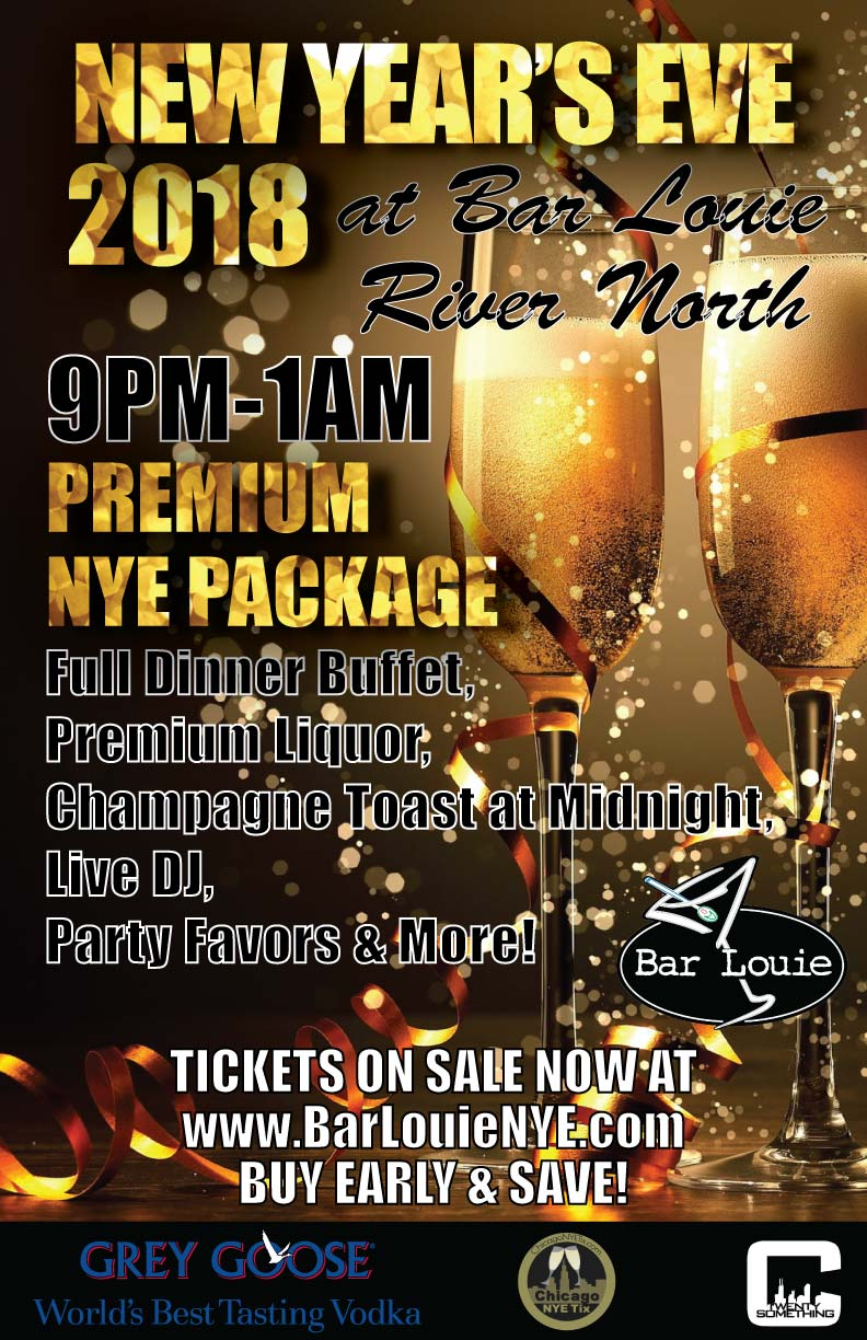 Bar Louie New Year's Eve Party in Chicago - Tickets Include A Premium NYE Party Package From 9pm-1am