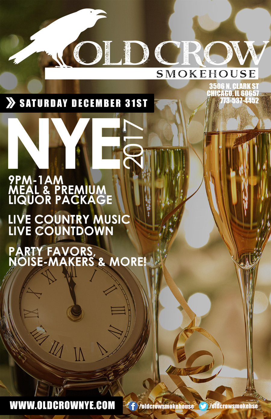 Old Crow Wrigleyville New Year's Eve Party - Join us for Live Country Music, Countdown, Party Favors & More!