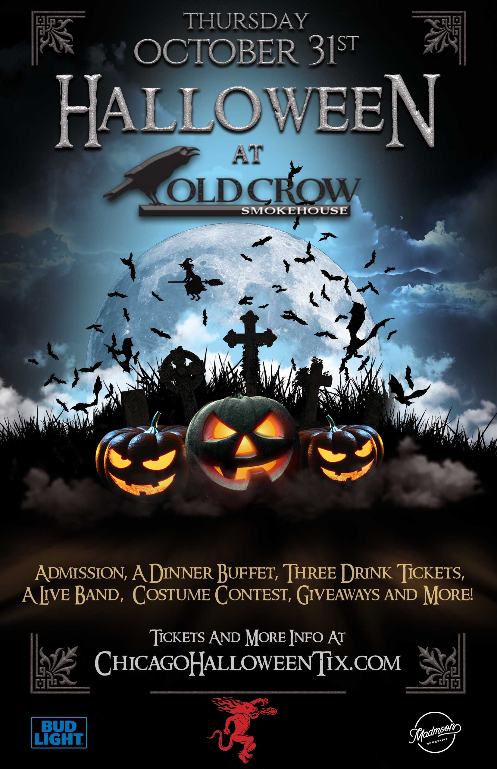 Old Crow Wrigleyville Halloween Party - Tickets include Admission & a Free Dinner Buffet, 3 Drink Tickets, a Costume Contest, Giveaways & MORE!