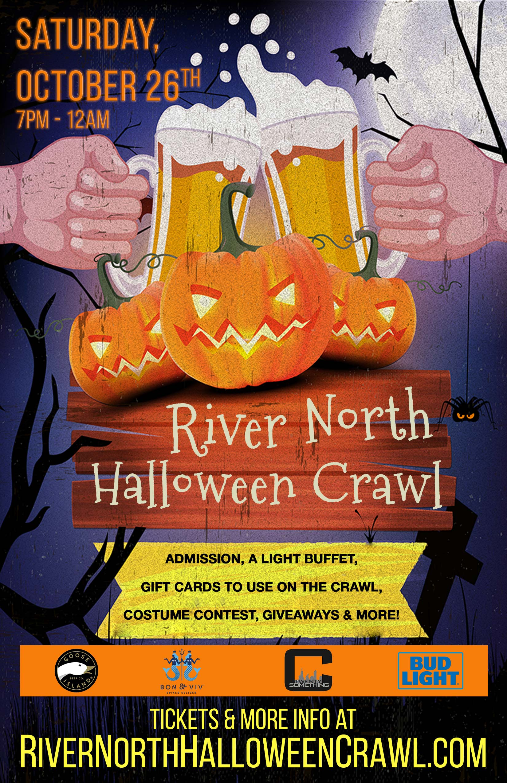 River North Halloween Crawl Party in Chicago - Tickets include Admission & a Free Light Buffet, Gift Cards to Use on the Crawl, a Costume Contest, Giveaways & MORE!
