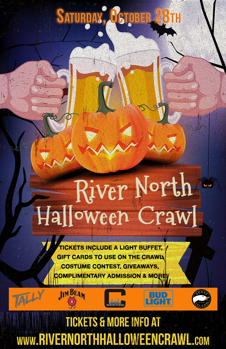 River North Chicago Halloween Crawl Party - Tickets include a dinner buffet, gift cards to use on the crawl, costume contests, giveaways & MORE!