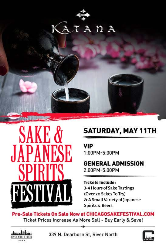 Chicago Sake Wine Festival Party - Taste a variety of sakes! We will have over 20 varieties to choose from!  GA TICKETS INCLUDE: 3 hours of sake tastings VIP TICKETS INCLUDE: An extra hour of tastings from 1-2pm with other VIPs & unique tastings only available during the VIP hour plus one on one time with sake vendors!