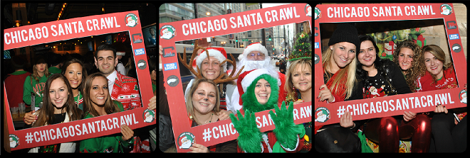 Chicago Santa Crawl Picture Collage
