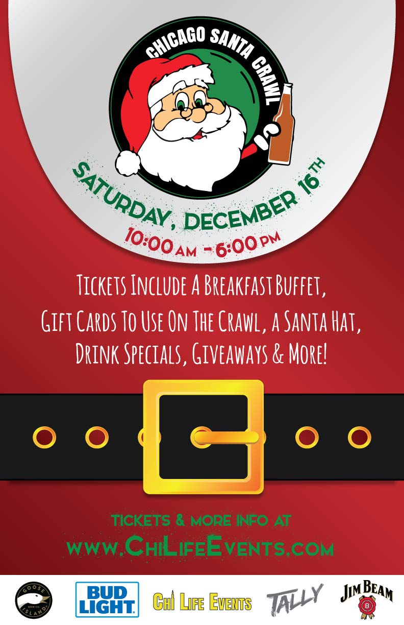 Chicago Santa Bar Crawl Party - Tickets include a breakfast buffet, gift cards to use on the crawl drink specials, giveaways & MORE!
